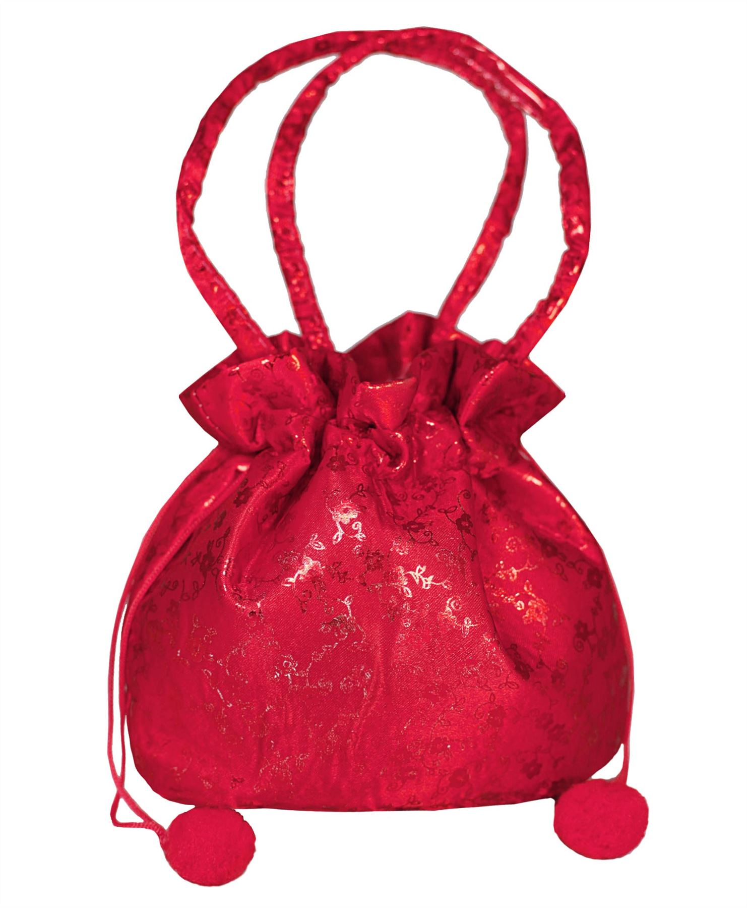 BRIDESMAID OR FLOWER GIRLS SATIN BAG KIDS GLITTER FLORAL POM POM ...