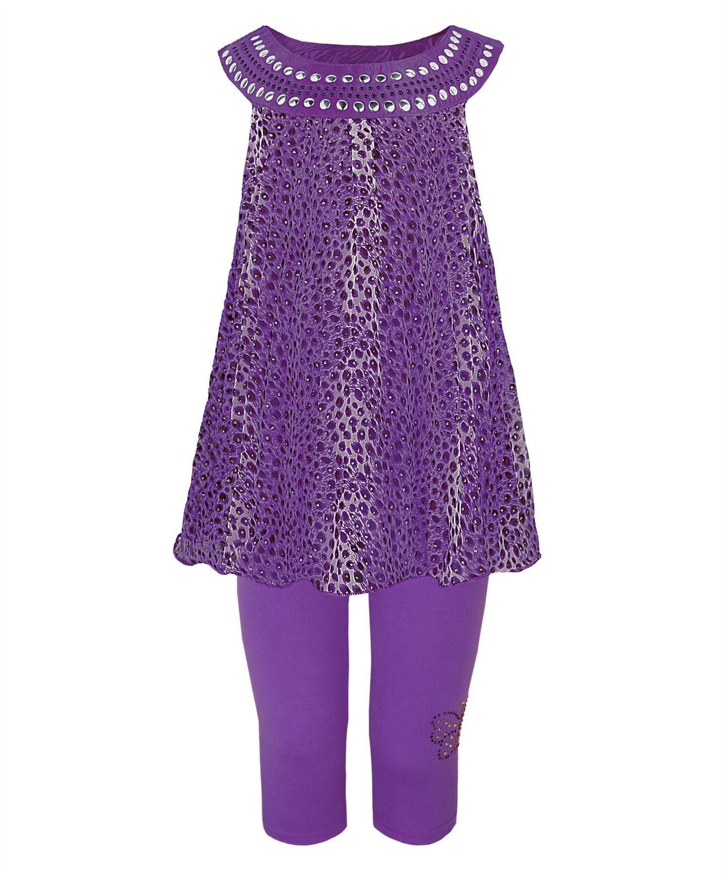 GIRLS SLEEVELESS DRESS GLITTER ANIMAL PRINT CHIFFON TOP & LEGGINGS KIDS 1-12Y