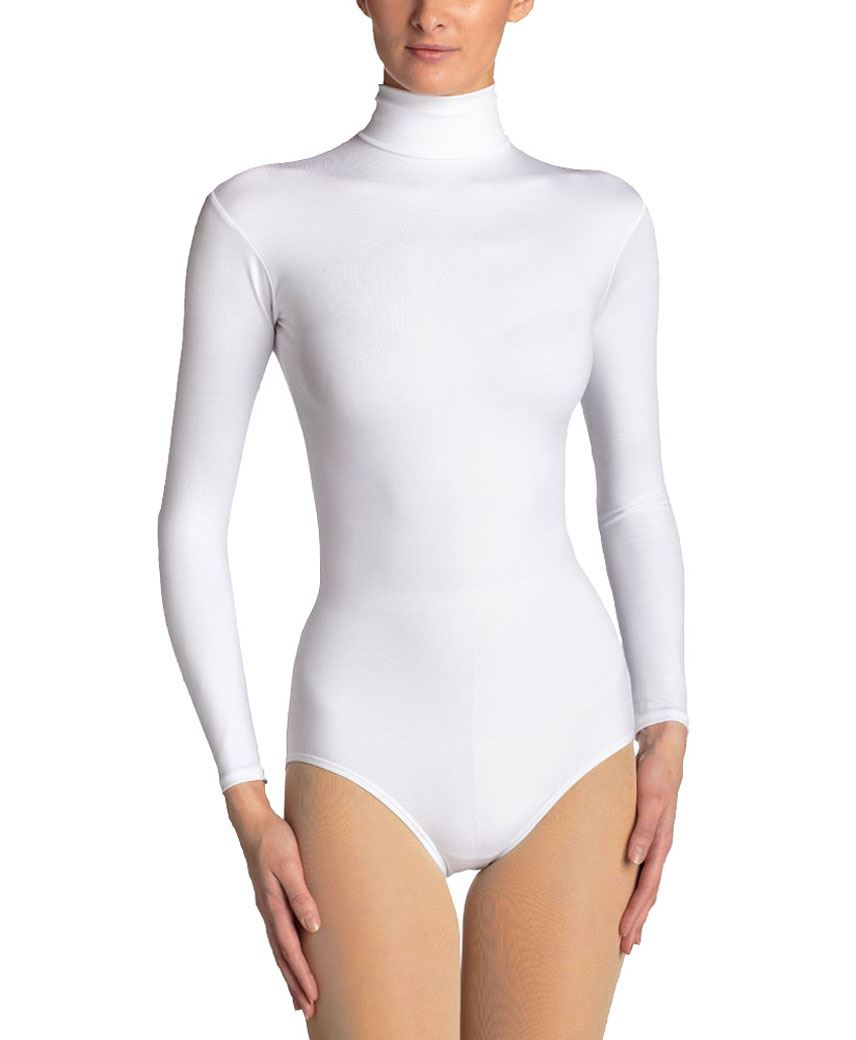 LADIES-NYLON-LONG-SLEEVE-TURTLENECK-BODYSUIT-WOMENS-SEEMLESS-LEOTARD-TOP-UK-8-18