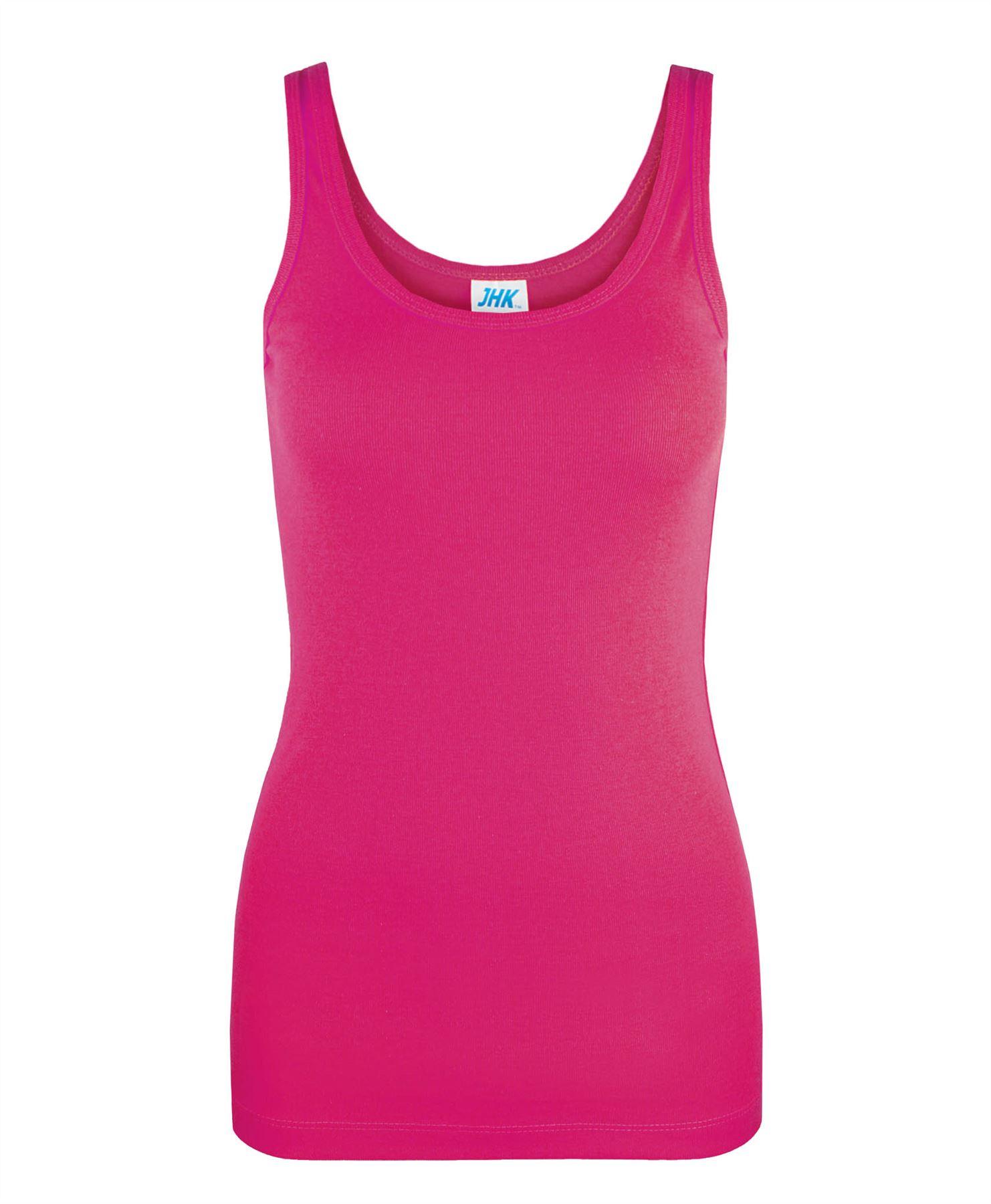 Ladies Plain Vest Slim Fit T Shirt Womens Ribbed Basic