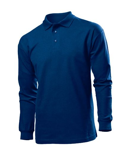 Men long sleeve polo shirt mens 100 cotton pique t shirt for Longer length mens polo shirts