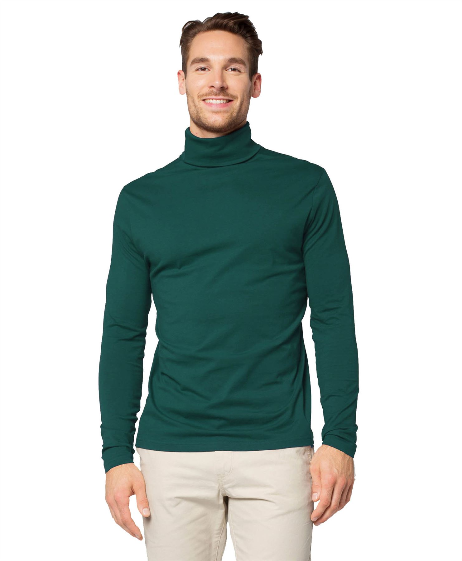 Mens jersey turtle neck plain cotton top long sleeve for Turtle shirts for men