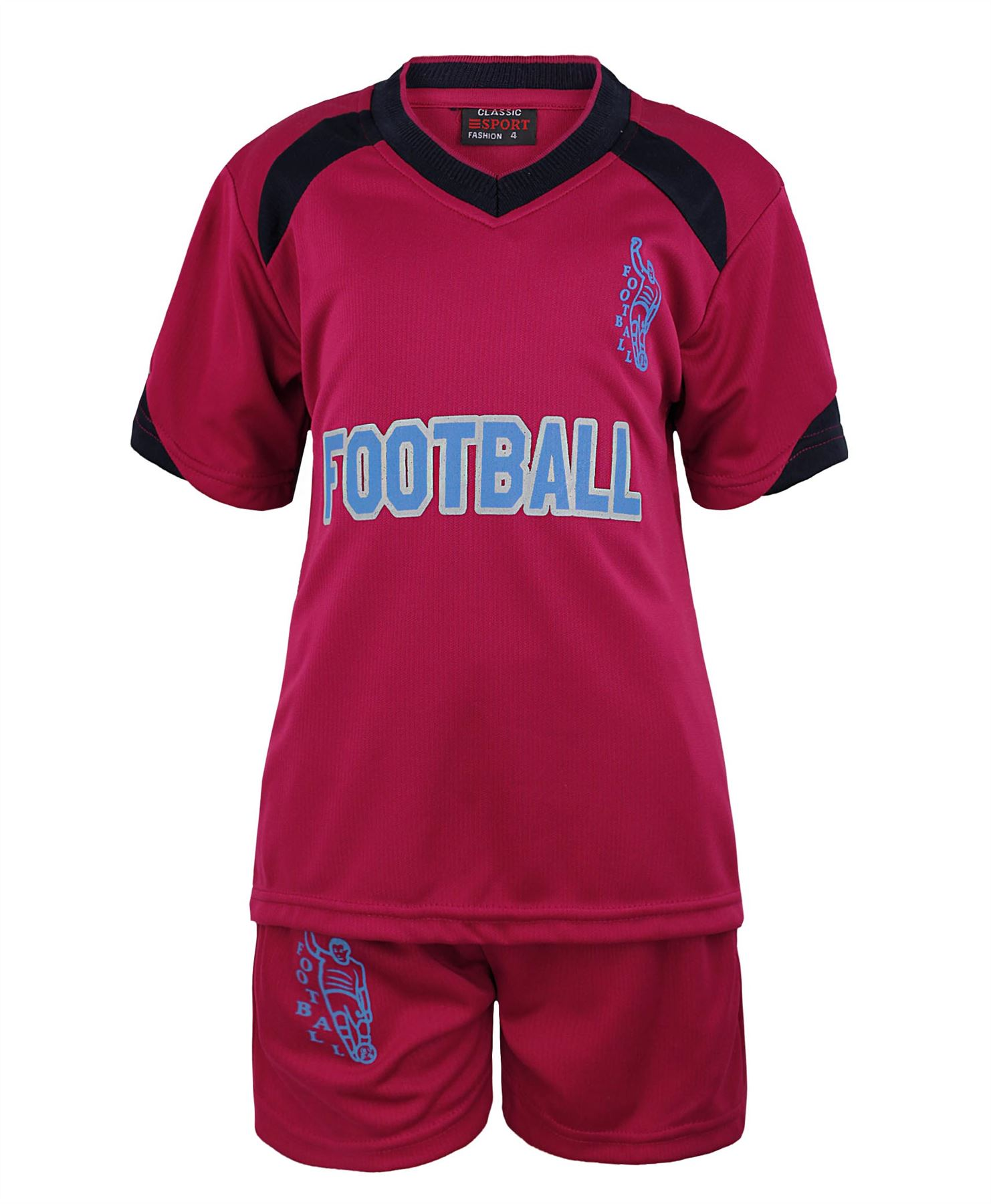 KIDS-2-PIECE-T-SHIRT-amp-SHORTS-SET-FOOTBALL-PRINT-GIRLS-BOYS-SPORTS-KIT-3-14-YEAR