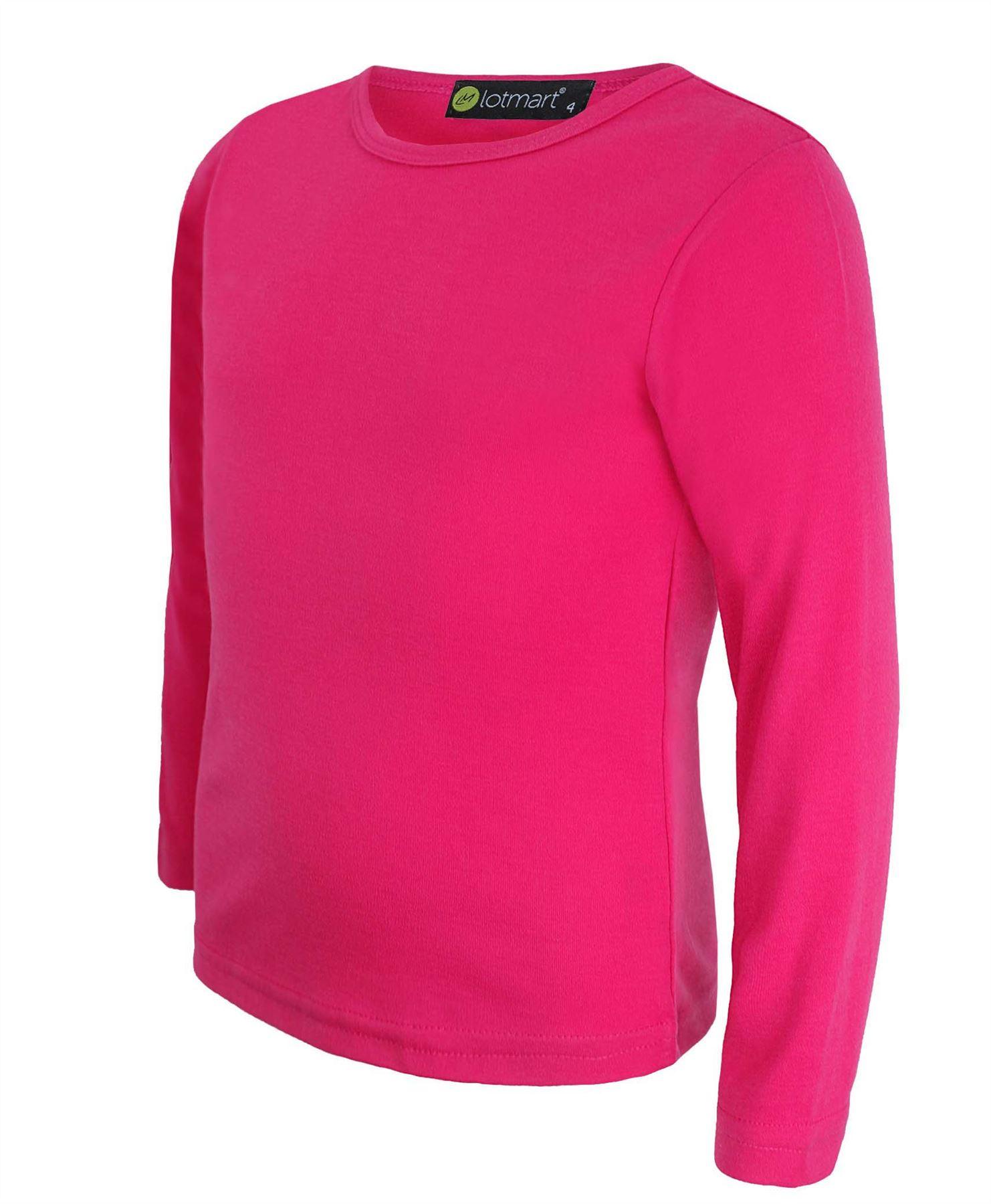 Kids Plain Basic Top Long Sleeve Girls Boys T Shirt Tops