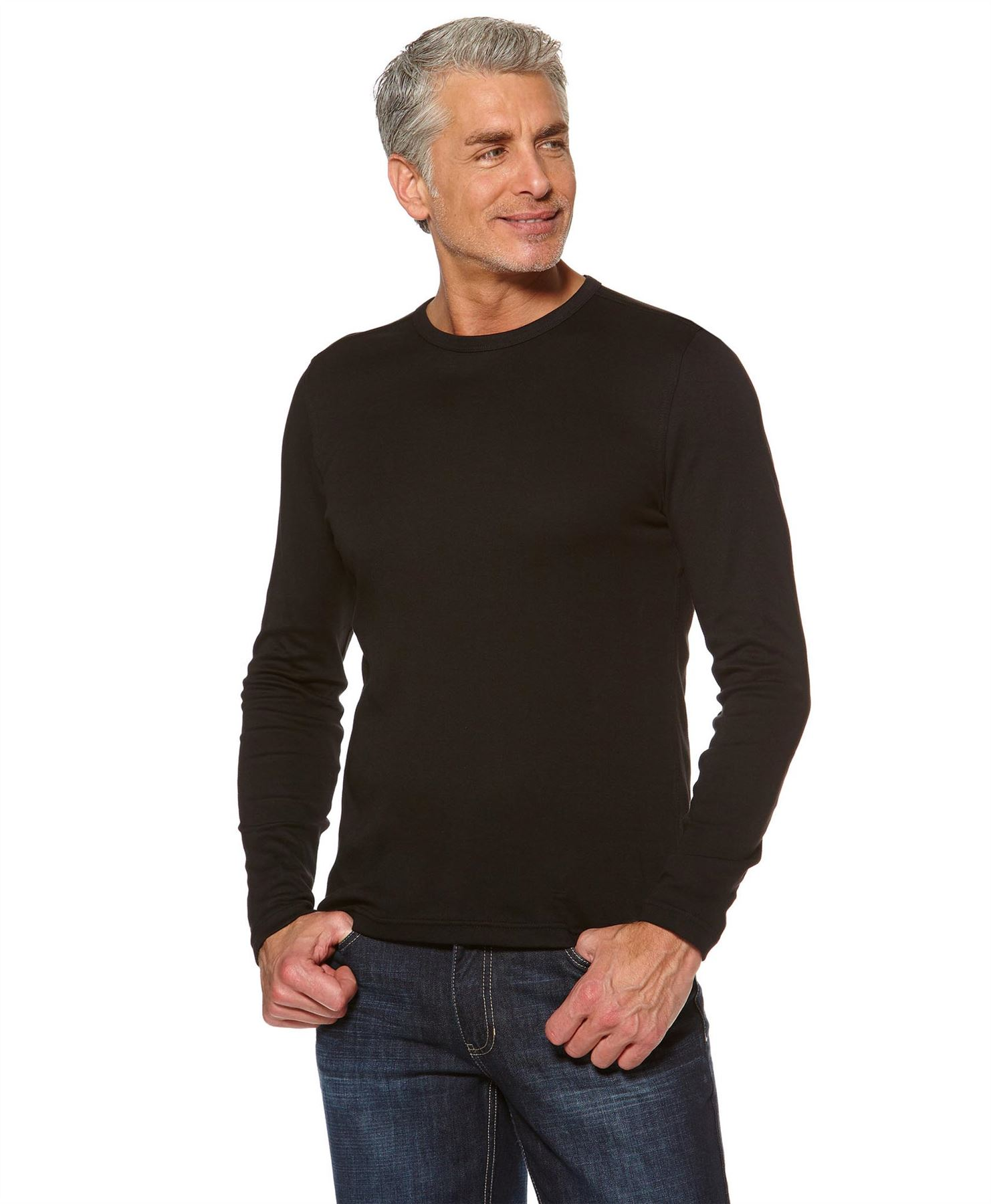 MENS ROUND NECK PLAIN COTTON TOP LONG SLEEVE STRETCHY ...