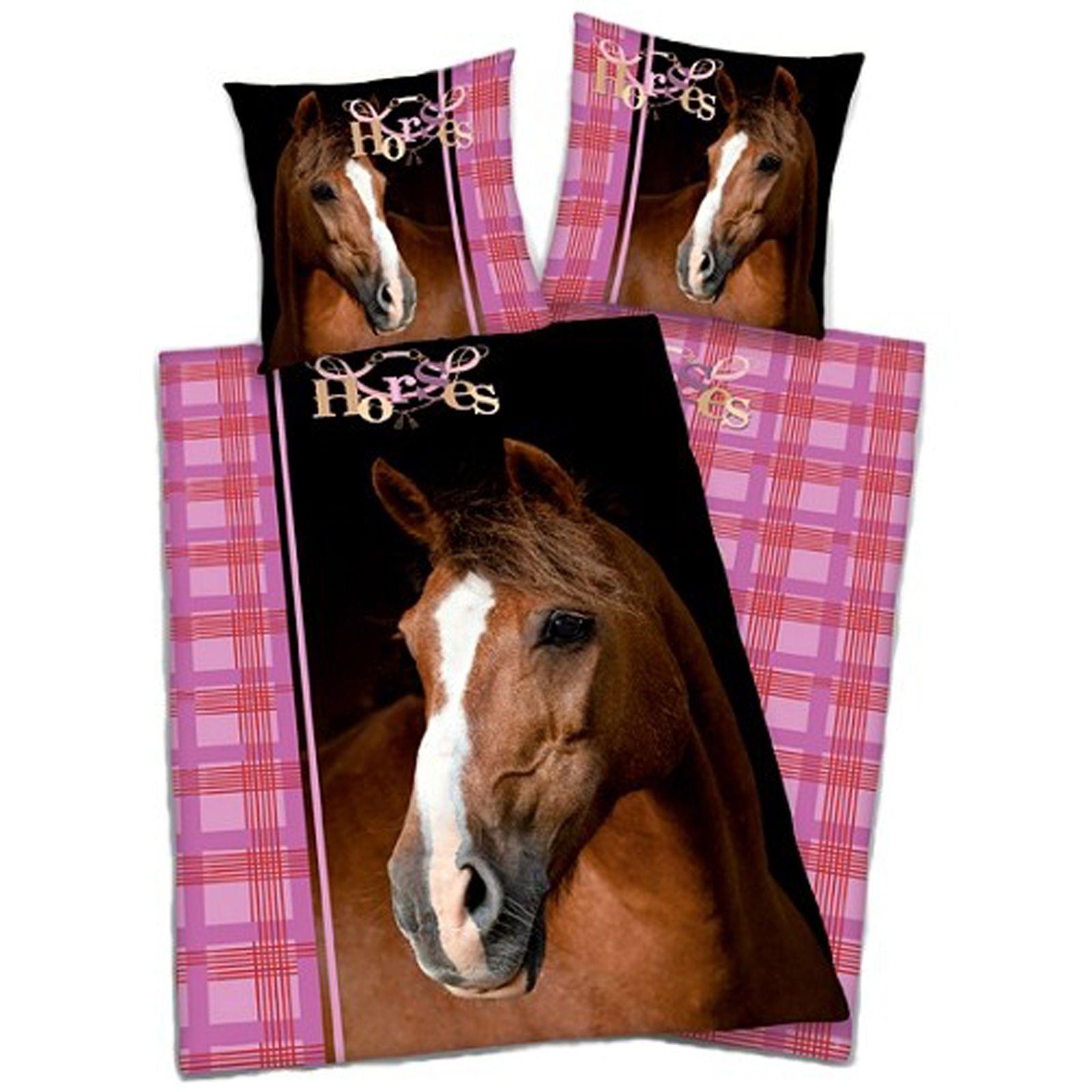 Copripiumini con stampa animali 100 cotone cavalli - Housse de couette cheval 1 personne ...