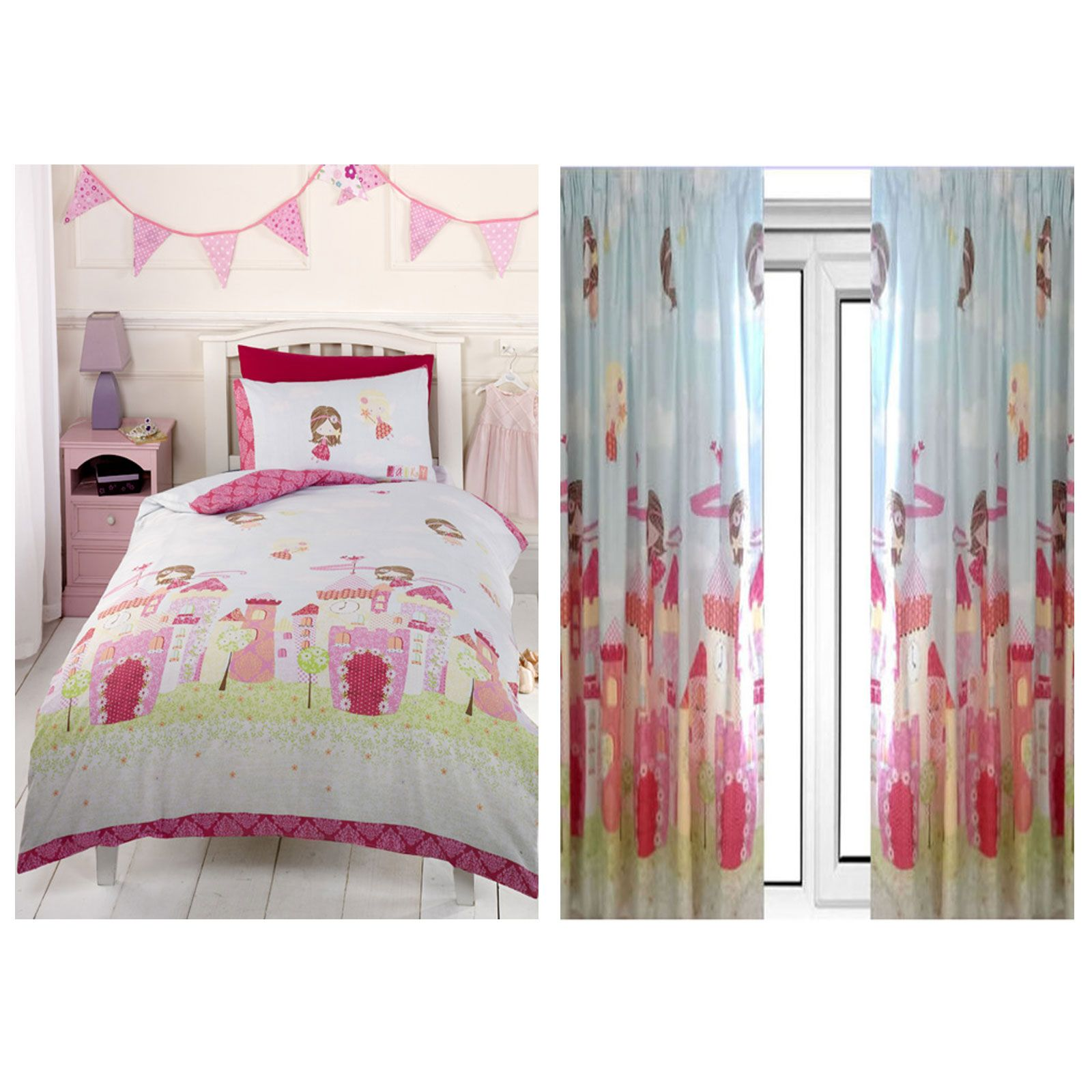 Girls Fairy Castle Double Duvet Cover Set 66 X 72 Matching Lined Curtains Ebay