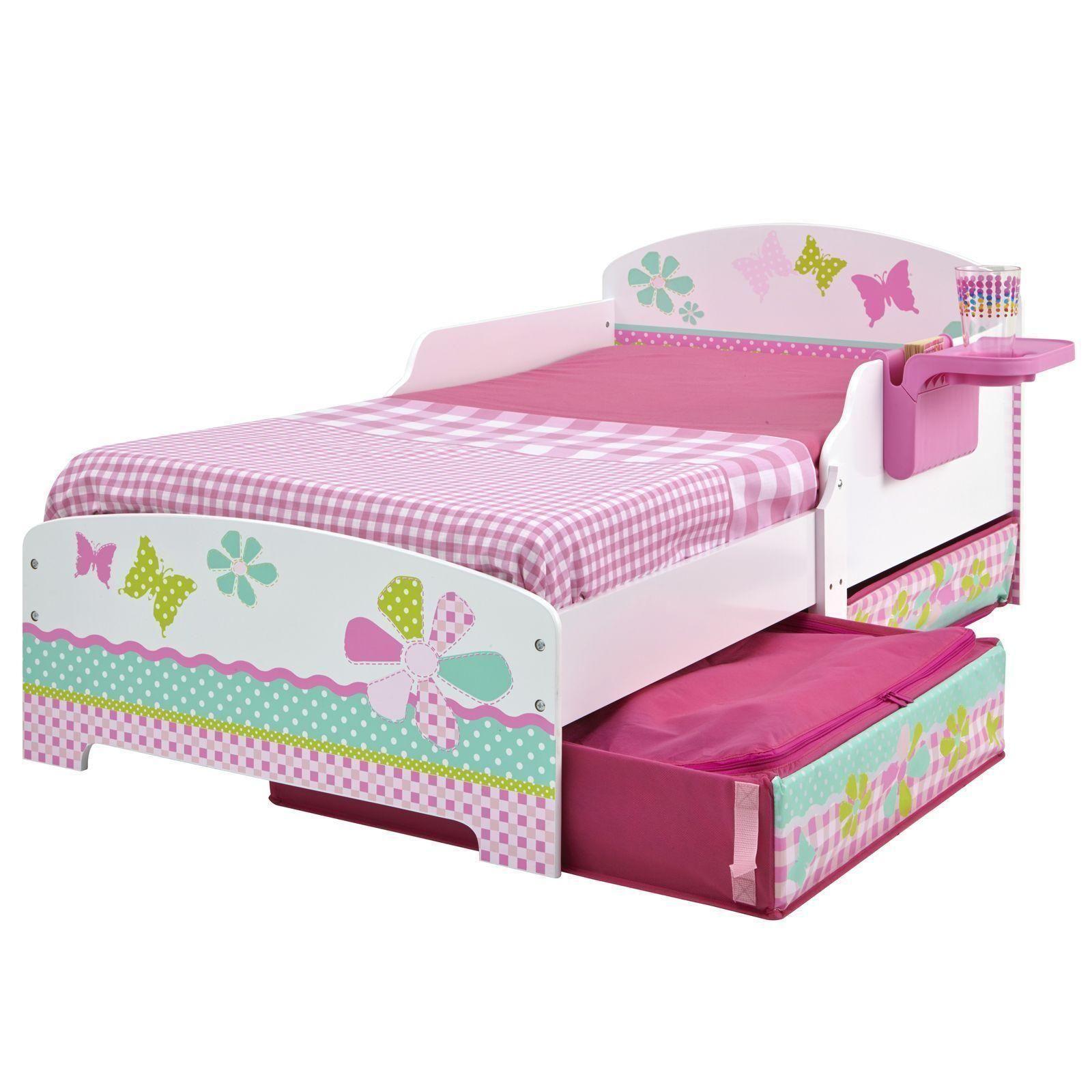 m dchen blumen schmetterlinge kleinkind bett mit ablage aufbewahrungs ebay. Black Bedroom Furniture Sets. Home Design Ideas