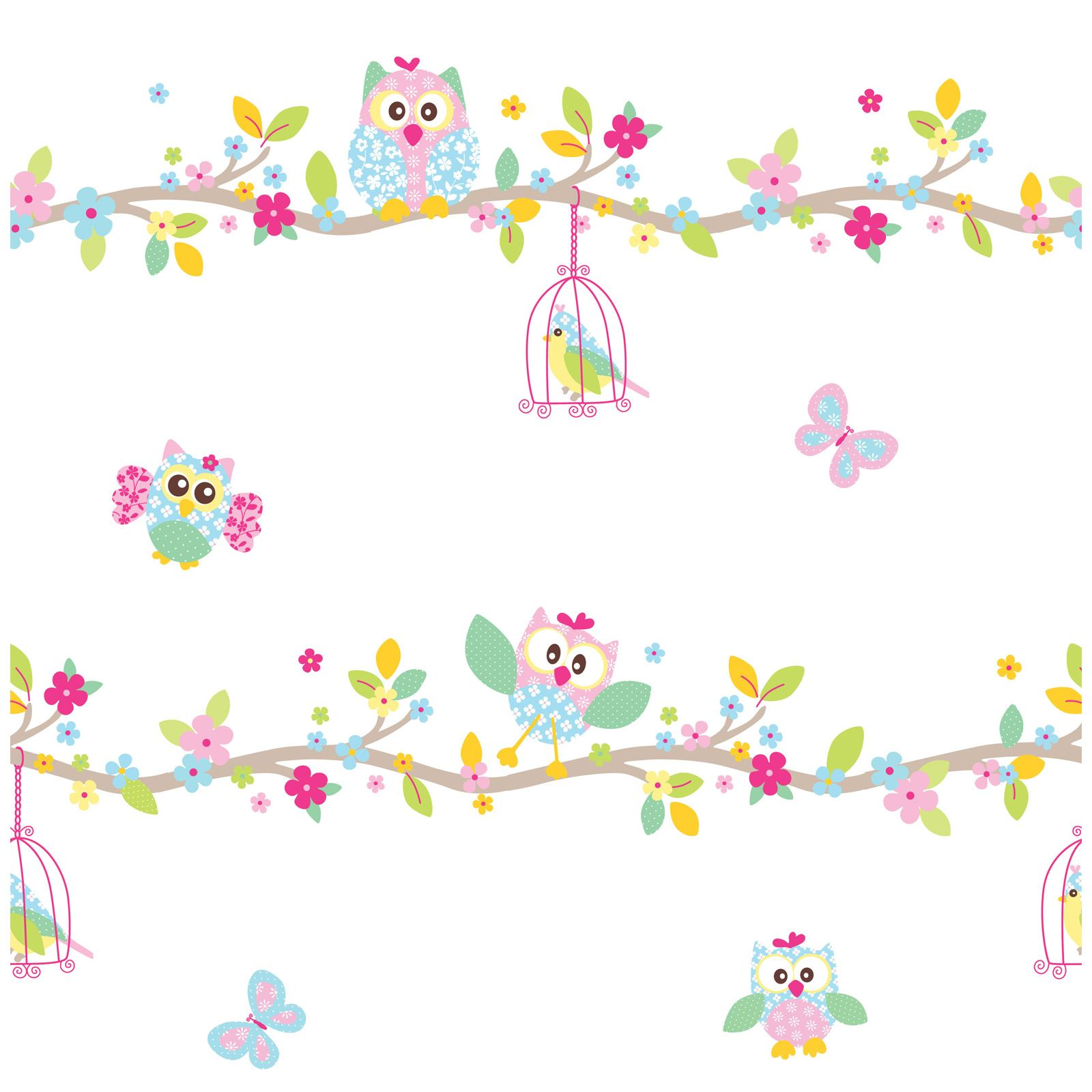 Patchwork Owl Wallpaper And Border White Pink Pastel