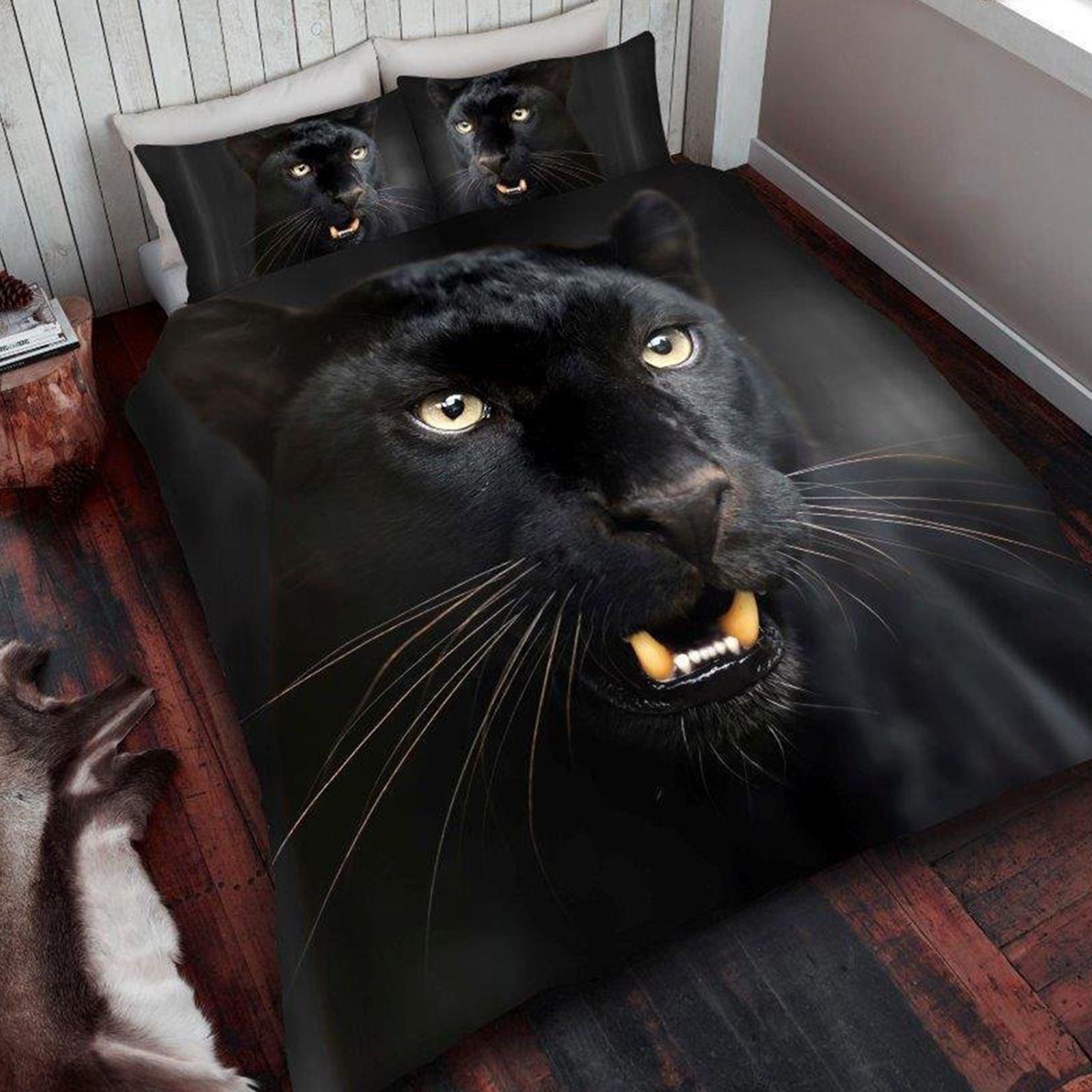 Panth re noire king size ensemble de couverture amp taie d for Technique pour mettre housse de couette