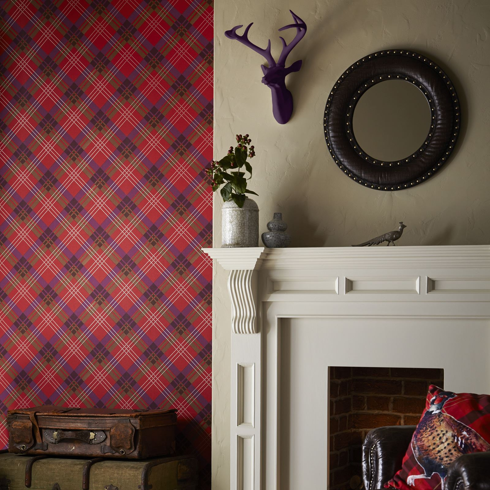 Tartan plaid checked wallpaper ideal for feature walls - Living room feature wall wallpaper ...
