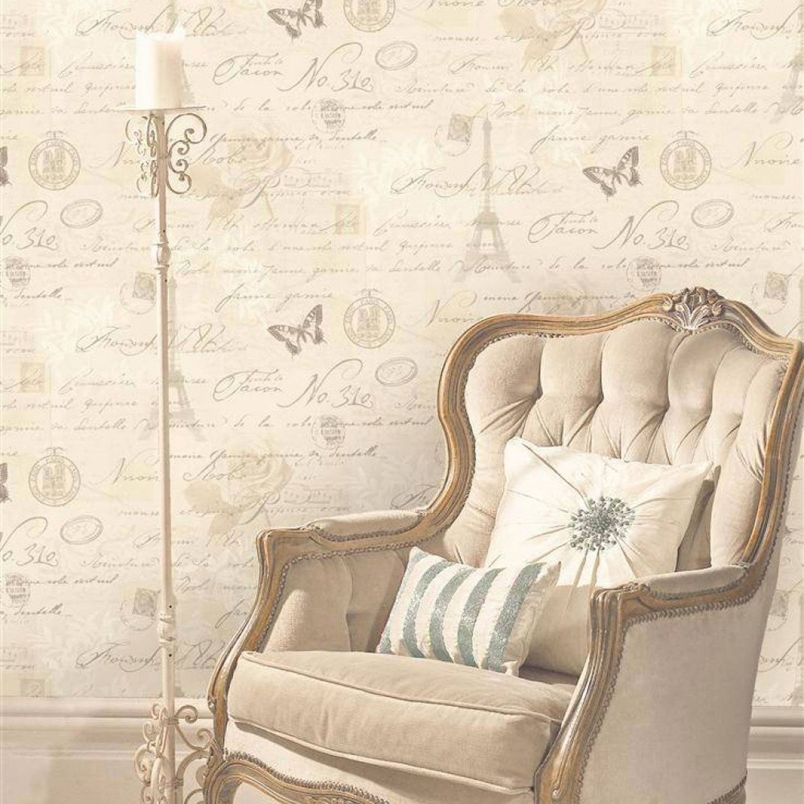 kalligraphie paris postkarte tapete neutrale 97750 holden decor eiffelturm. Black Bedroom Furniture Sets. Home Design Ideas