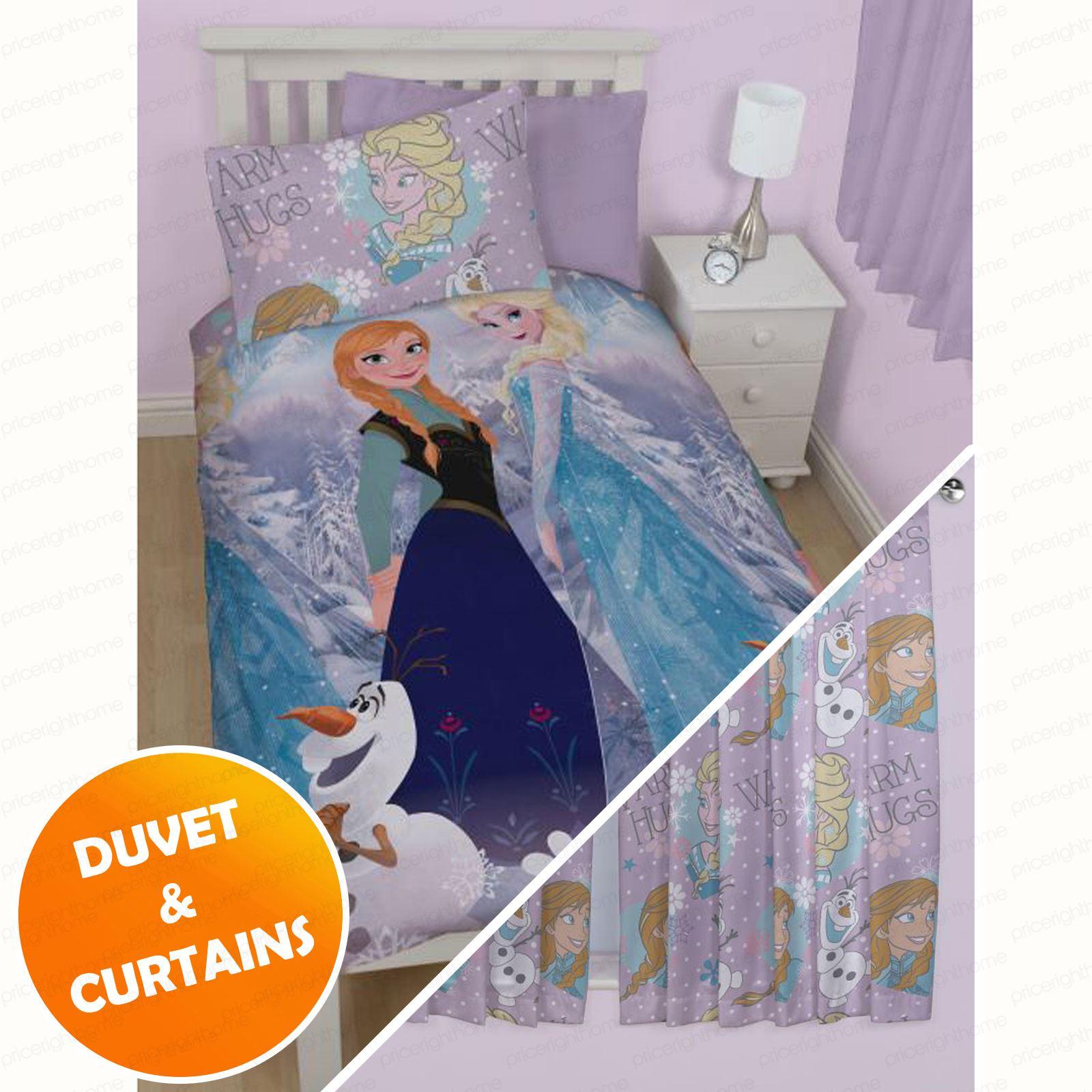DISNEY FROZEN BEDROOM DUVET COVERS & MATCHING CURTAINS