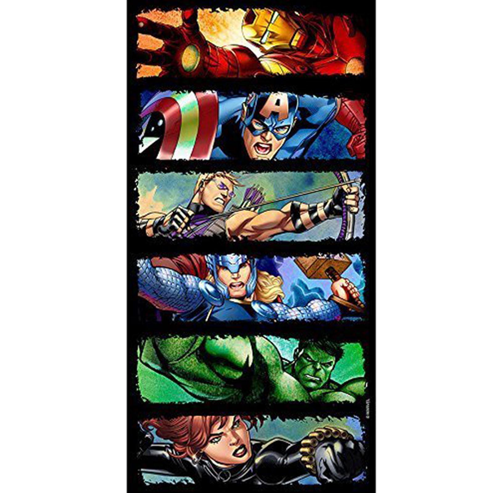Marvel avengers comic strip style beach towel 100 cotton thor hulk hawkeye boys ebay - Marvel superhero bathroom accessories ...