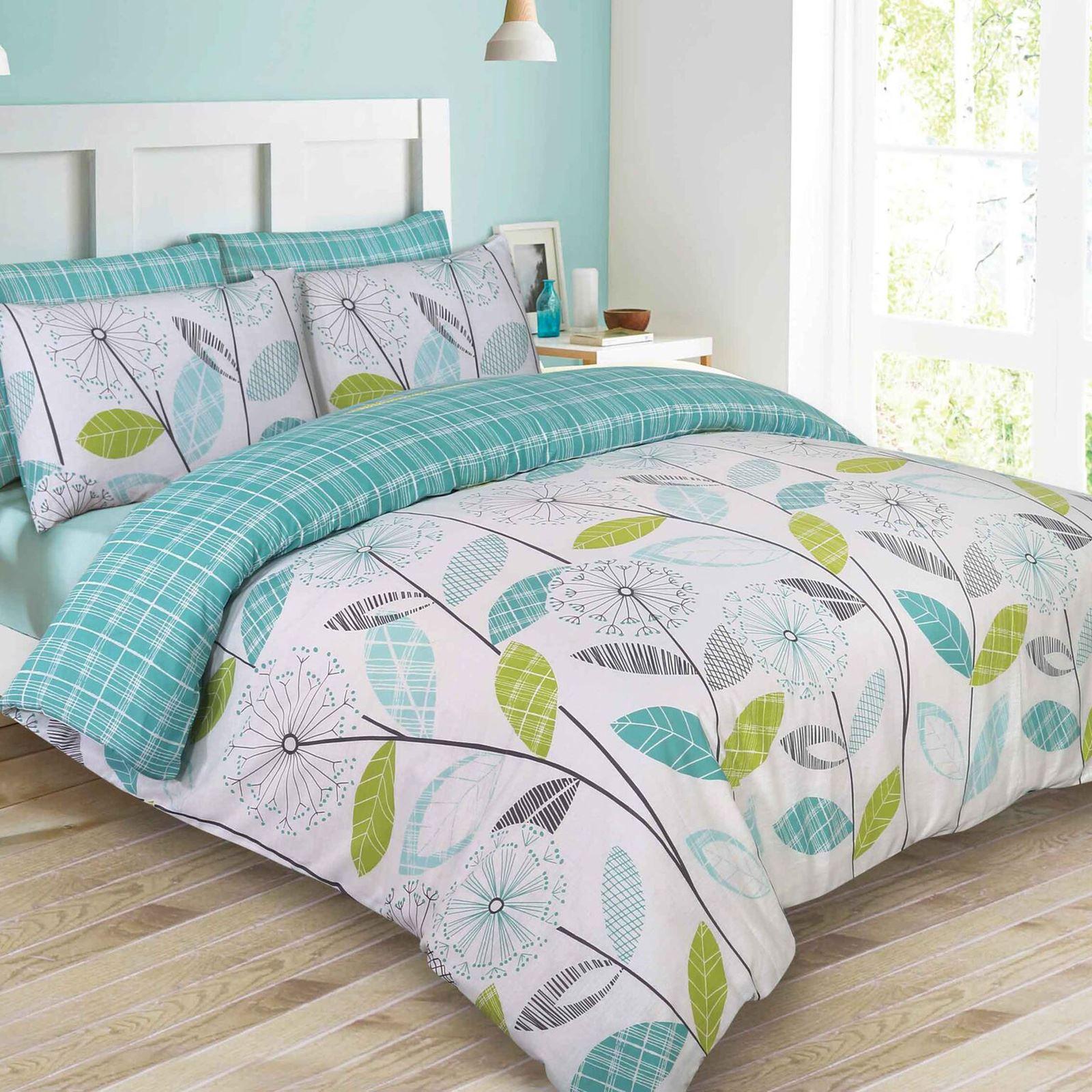 allium pissenlit sarcelle parure housse de couette king size ebay. Black Bedroom Furniture Sets. Home Design Ideas
