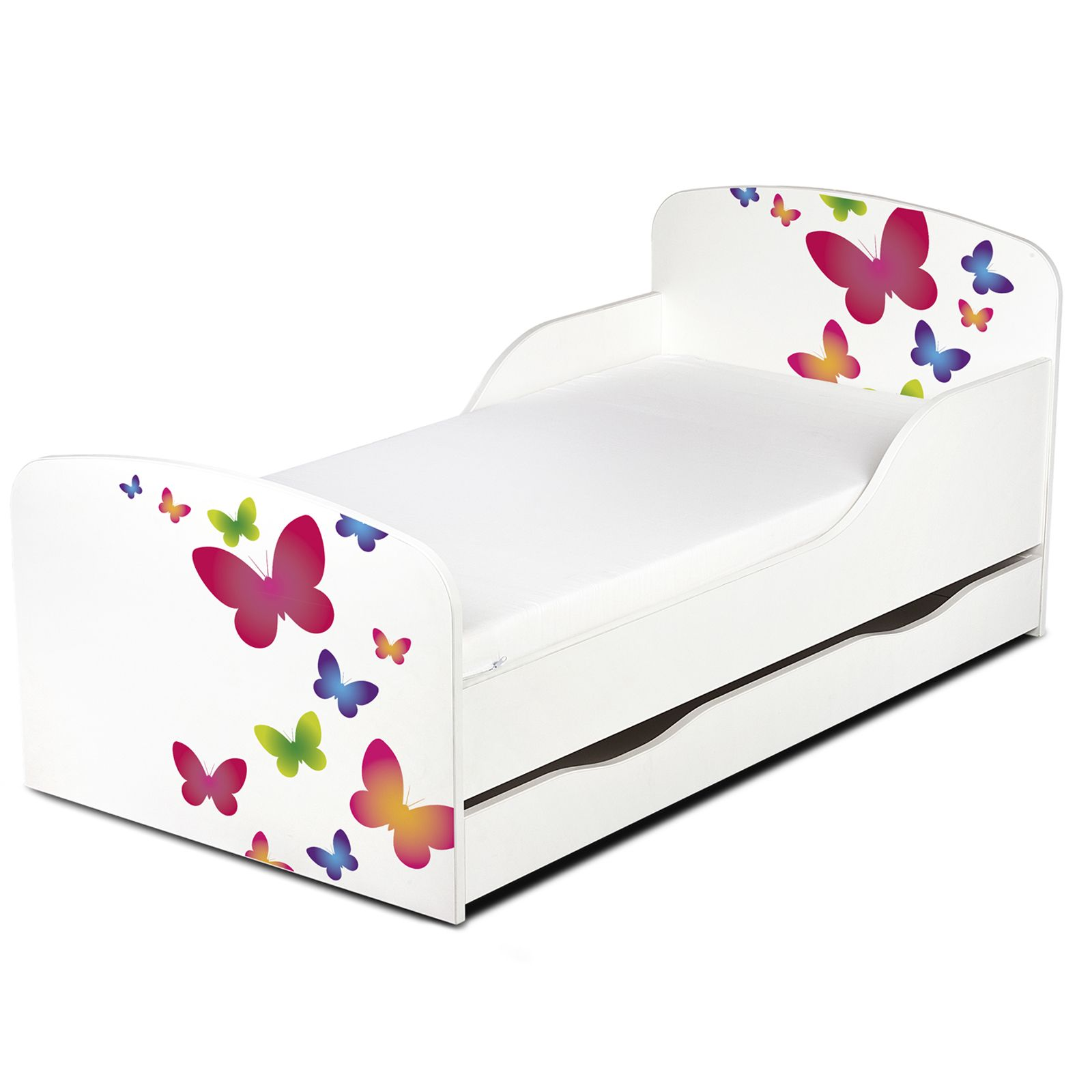 Butterflies mdf toddler bed with underbed storage new kids for Lit kidkraft