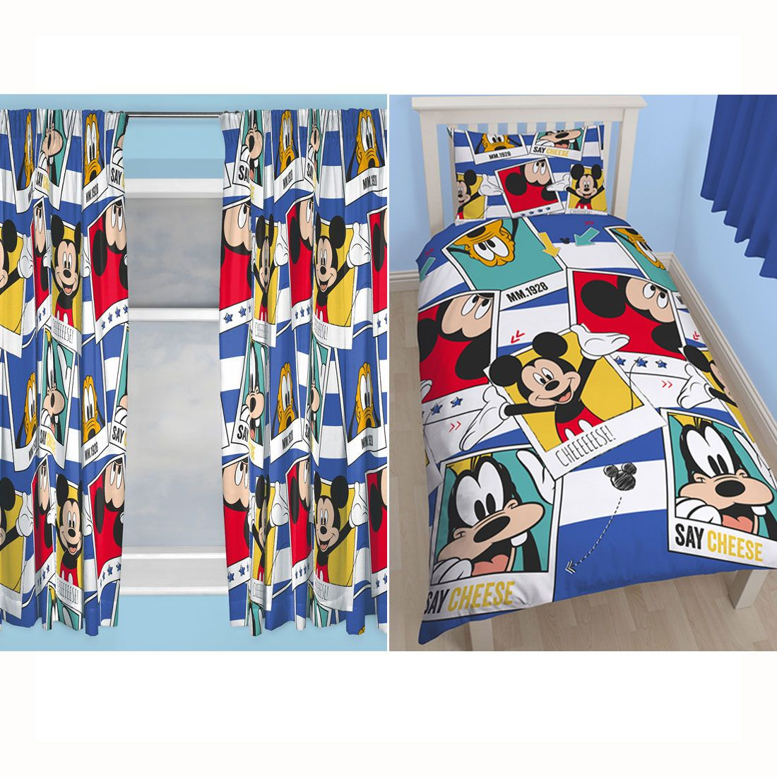 micky maus einzelbettbezug set passend 66 x 54 vorh nge. Black Bedroom Furniture Sets. Home Design Ideas
