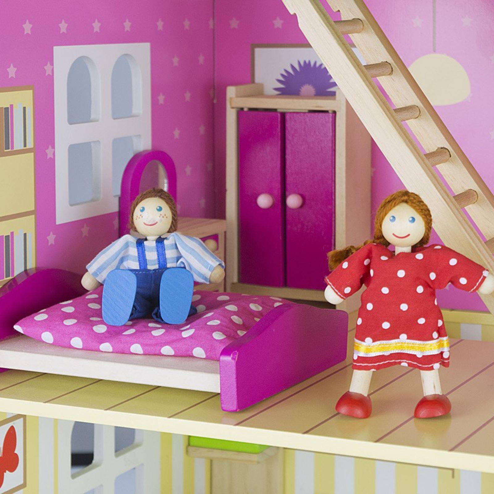 leomarks kinder puppenhaus mit m bel spielhaus m dchen. Black Bedroom Furniture Sets. Home Design Ideas