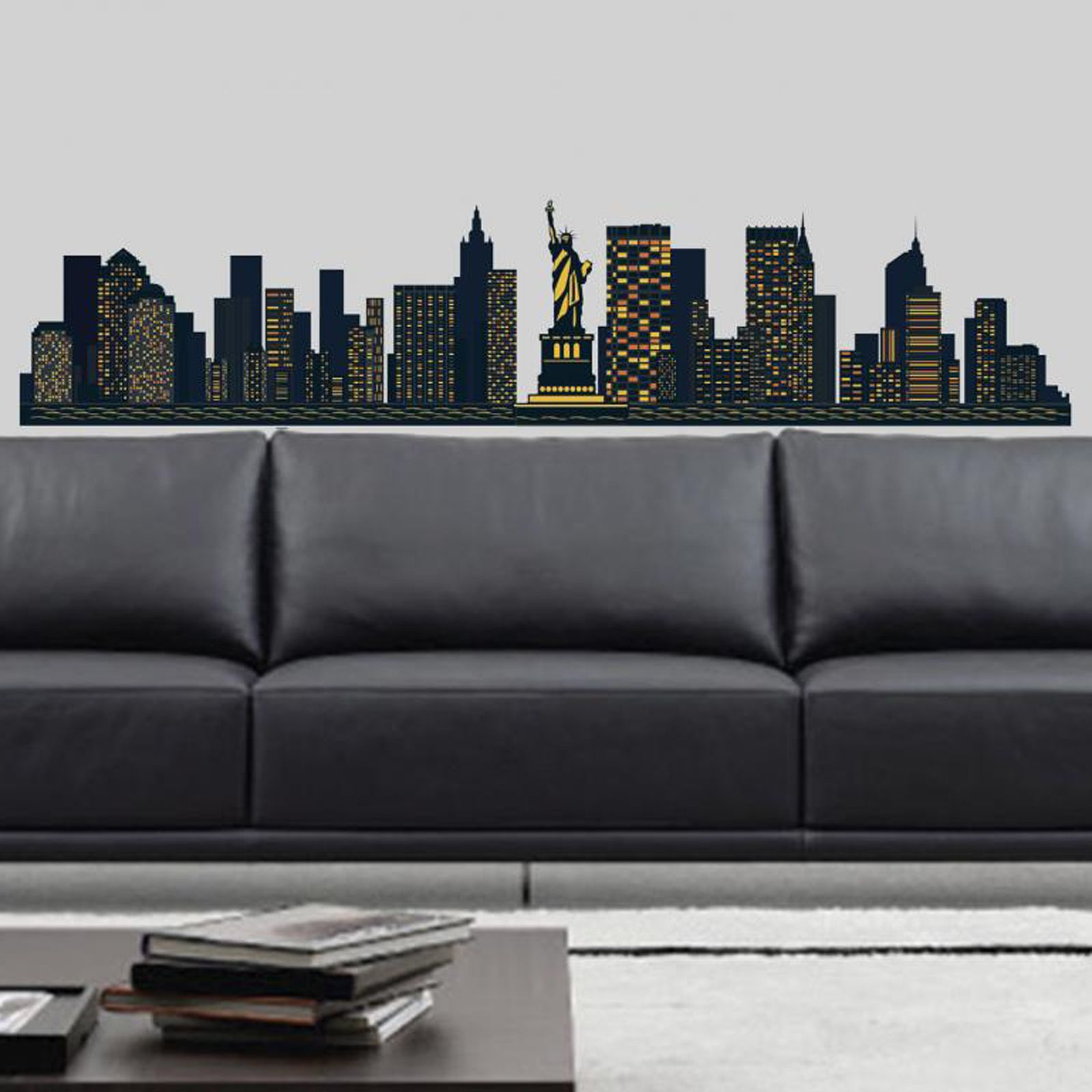 New york city skyline large wall stickers new big room for New york city decor