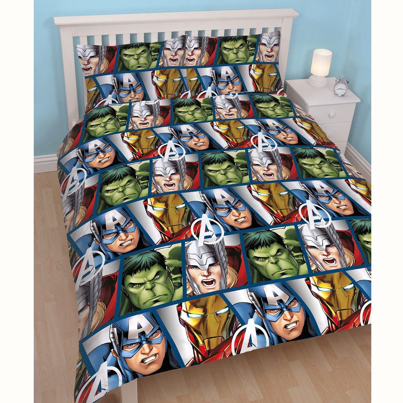 marvel avengers protection set housse de couette double r versible iron man hulk ebay. Black Bedroom Furniture Sets. Home Design Ideas