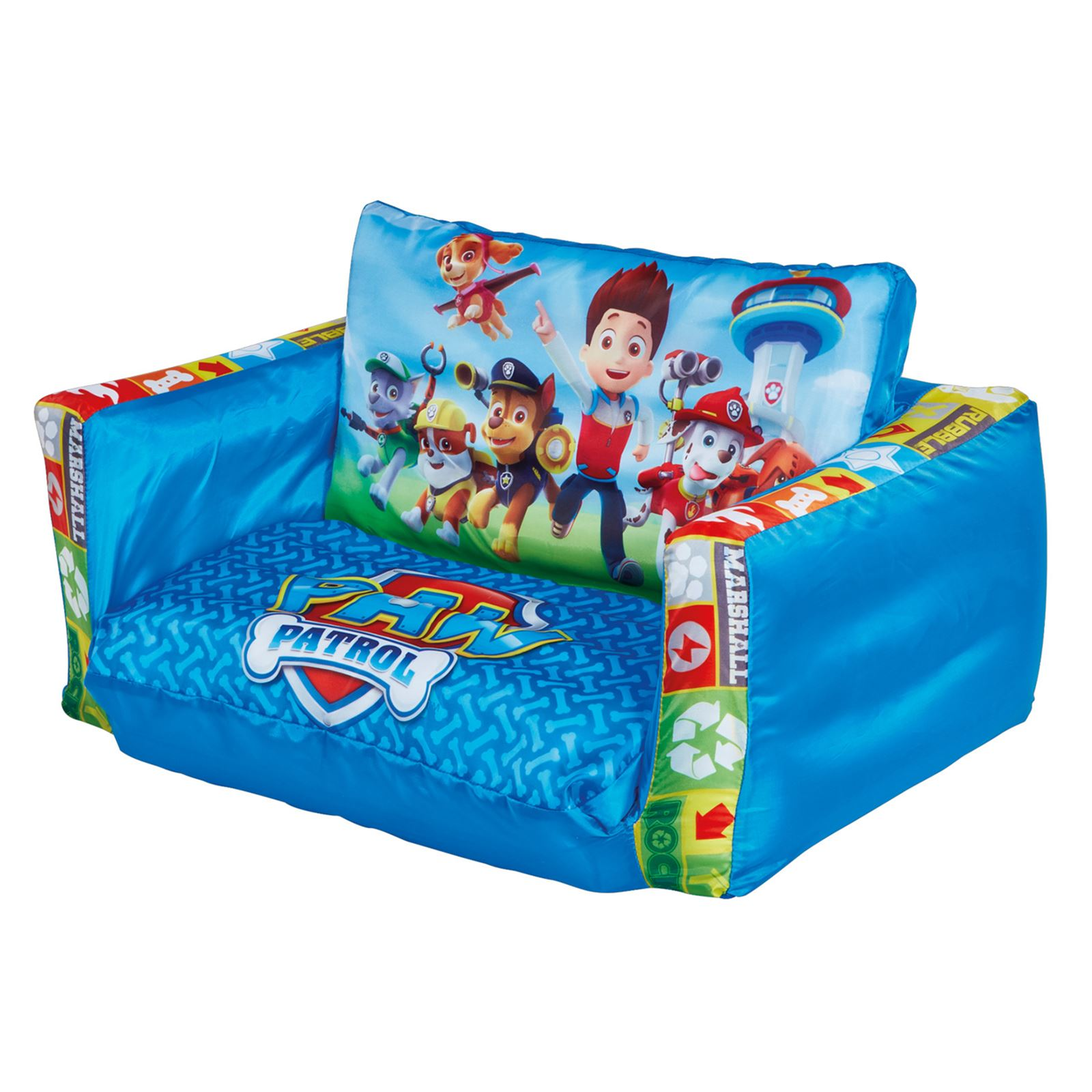 Flip out sofa range inflatable kids room new minions frozen paw patrol more ebay Kids lounge sofa