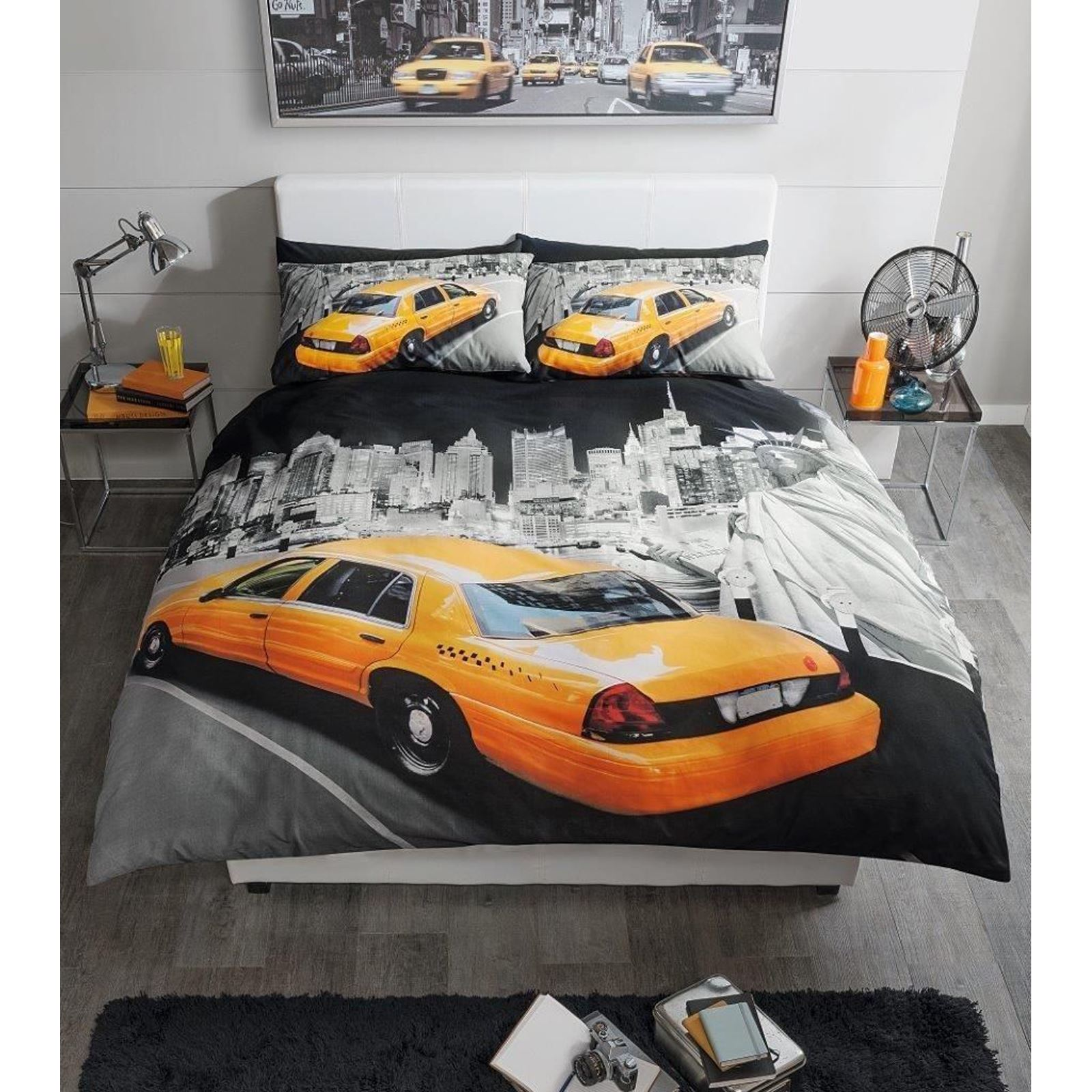 Premium range modern new york yellow cab king size duvet for Housse de couette king size