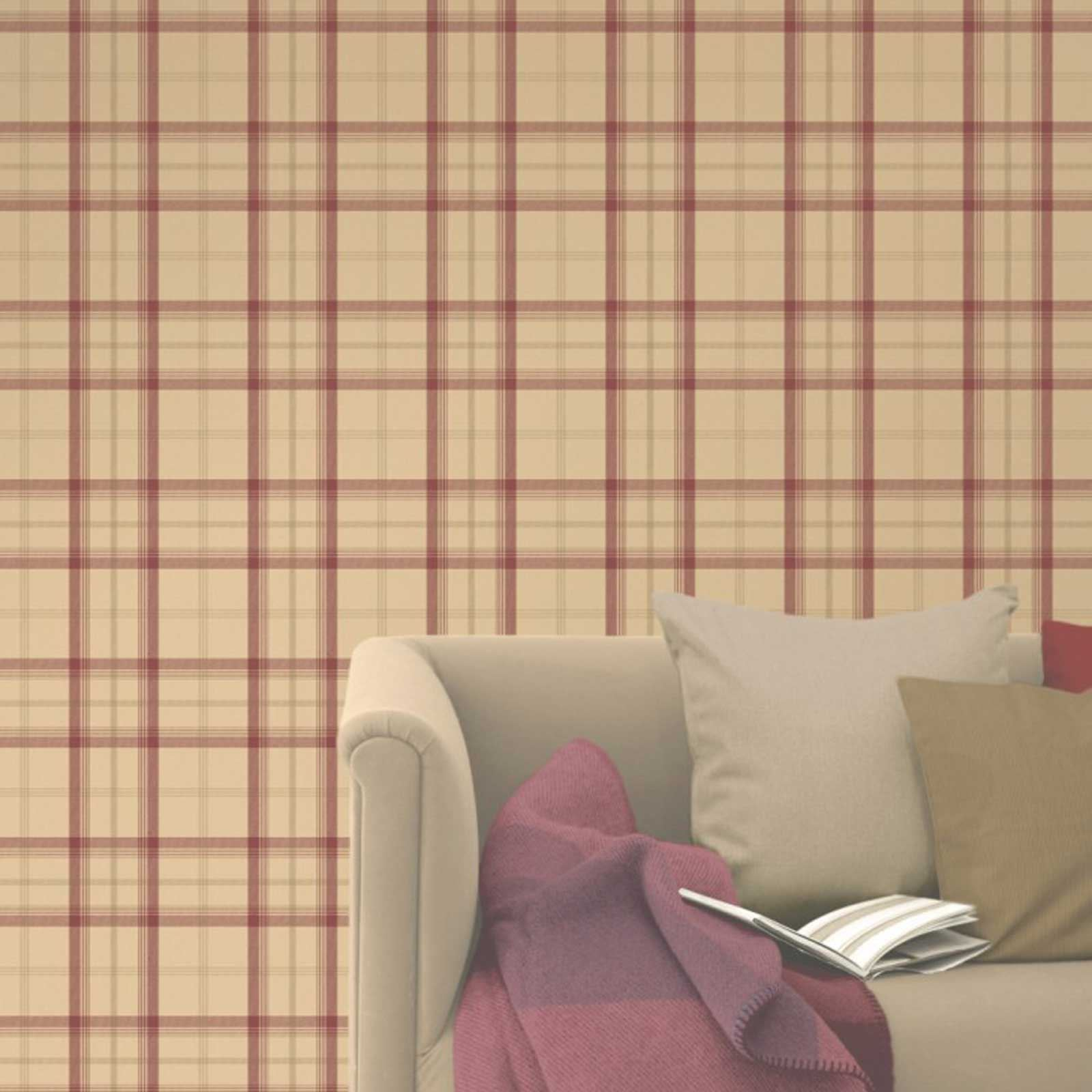 TARTAN WALLPAPER PLAID CHECKED DESIGNS RED GOLD