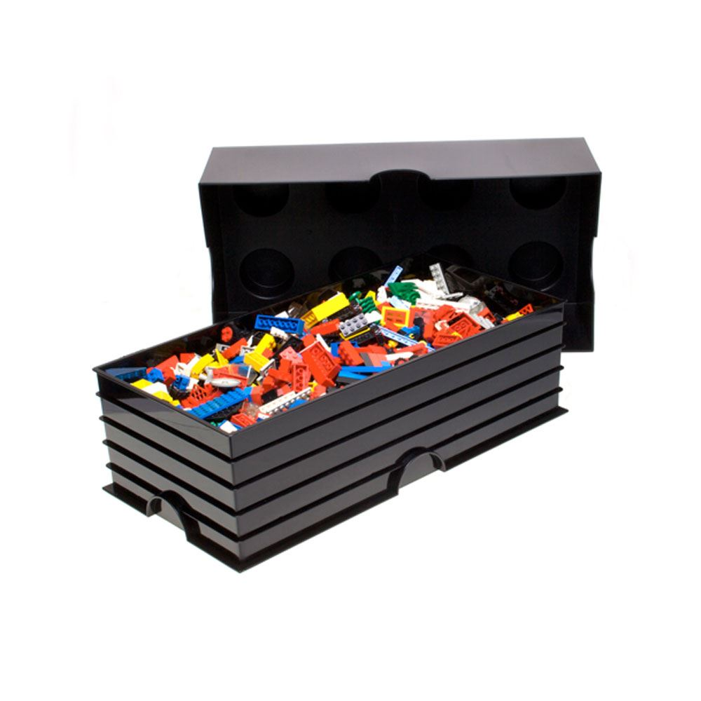 lego large storage box sealed furniture 8 black brick new. Black Bedroom Furniture Sets. Home Design Ideas