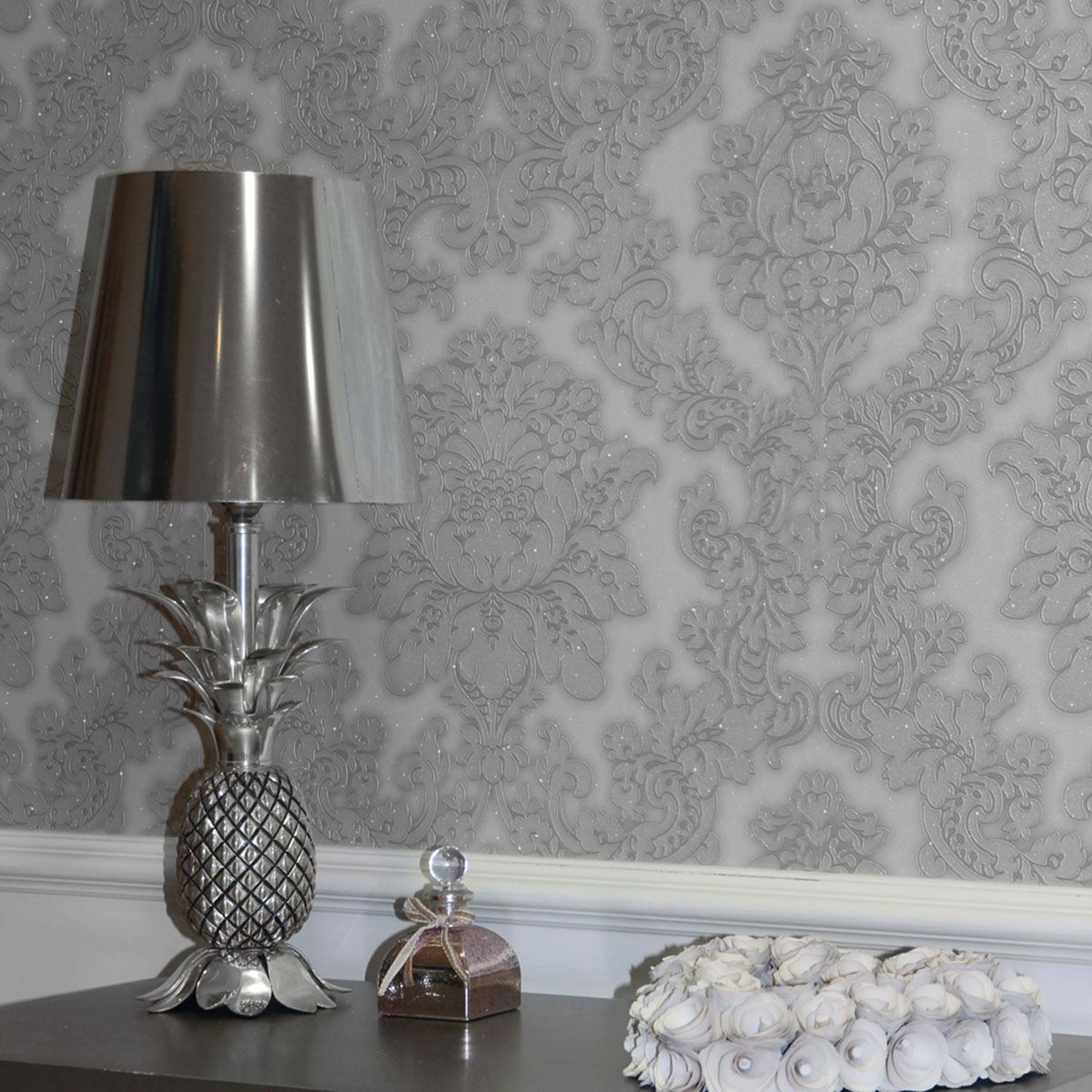 Arthouse vicenza damask wallpaper feature wall taupe for Grey feature wallpaper bedroom