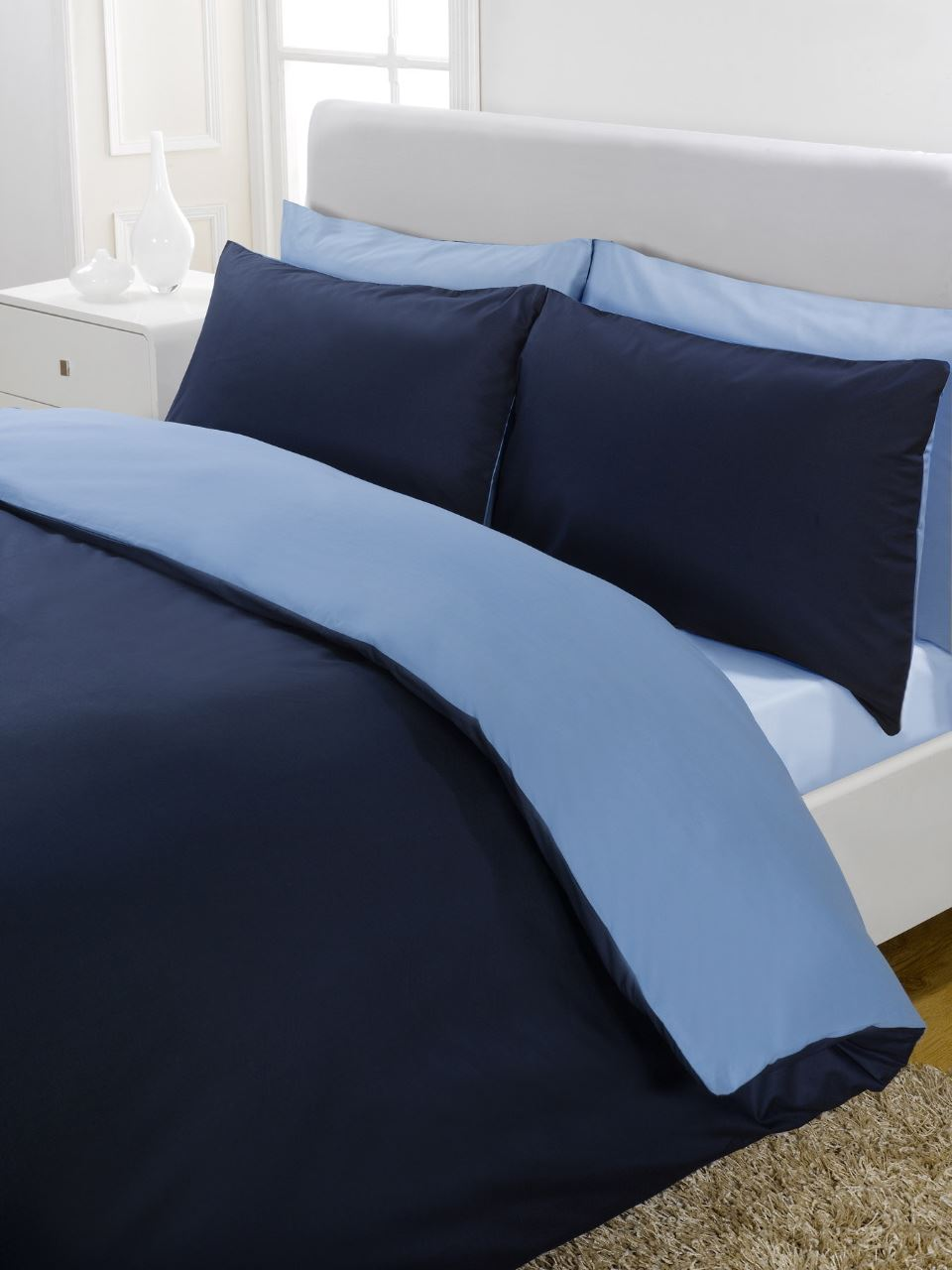 housse de couette de luxe percale r versible bleu marine. Black Bedroom Furniture Sets. Home Design Ideas