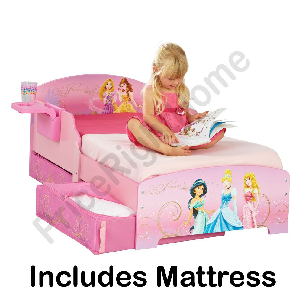 DISNEY PRINCESS TODDLER BED INCLUDES SHELF UNDERBED