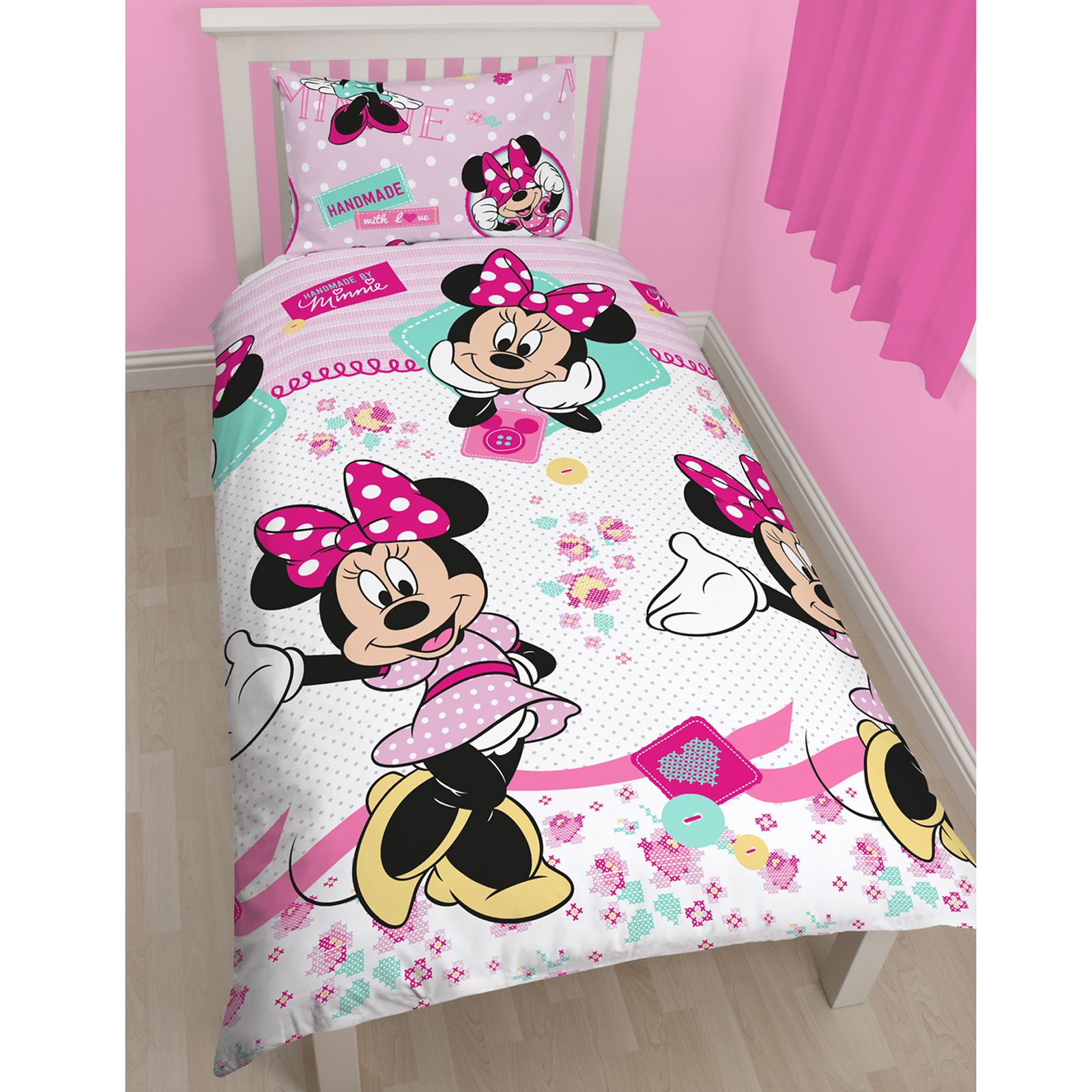 MINNIE MOUSE BEDROOM RANGE SINGLE DOUBLE DOONA COVER CURTAINS AVAILABLE