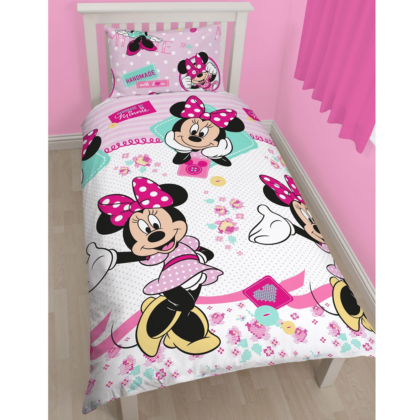 About minnie mouse single duvet cover set matching 66 quot x 54 quot curtains