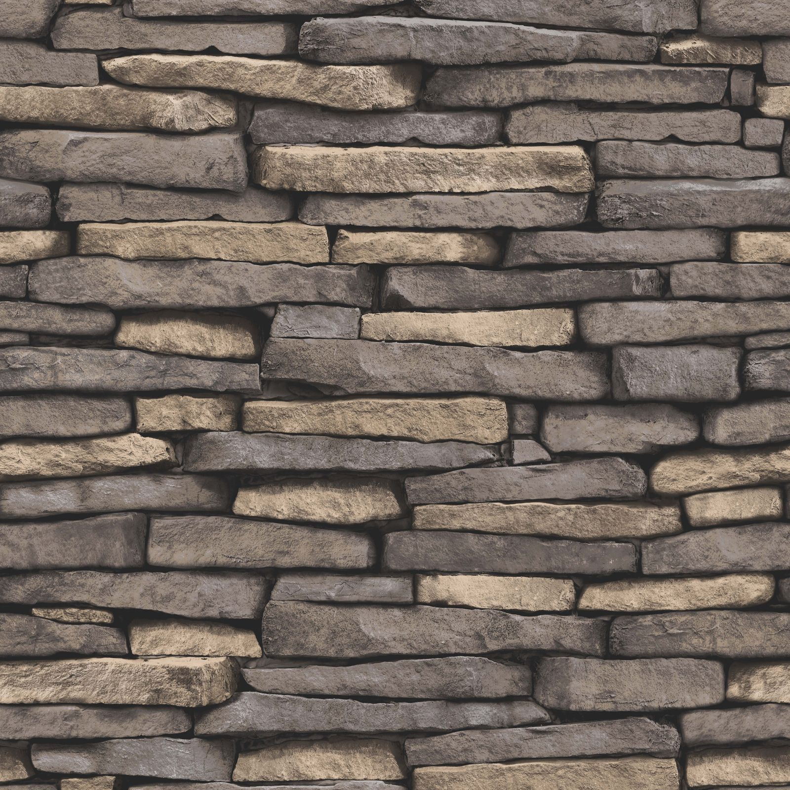 Natural stone effect wallpaper 10m slate fine decor for Stone wall art