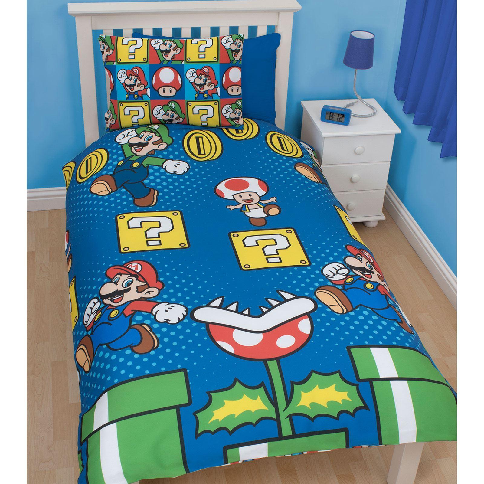 nintendo super mario luigi saut simple parure de lit literie enfant ebay. Black Bedroom Furniture Sets. Home Design Ideas