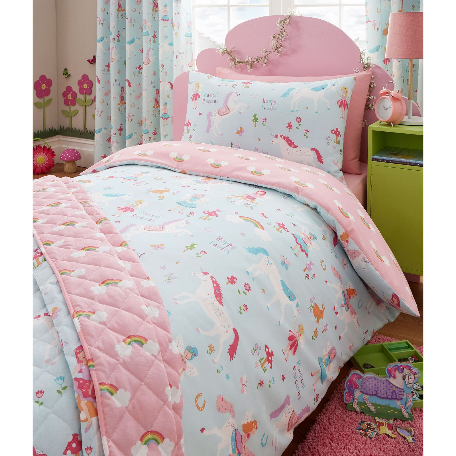 Magical unicorn single duvet cover kids bedding unicorn - Complete bedroom sets with curtains ...