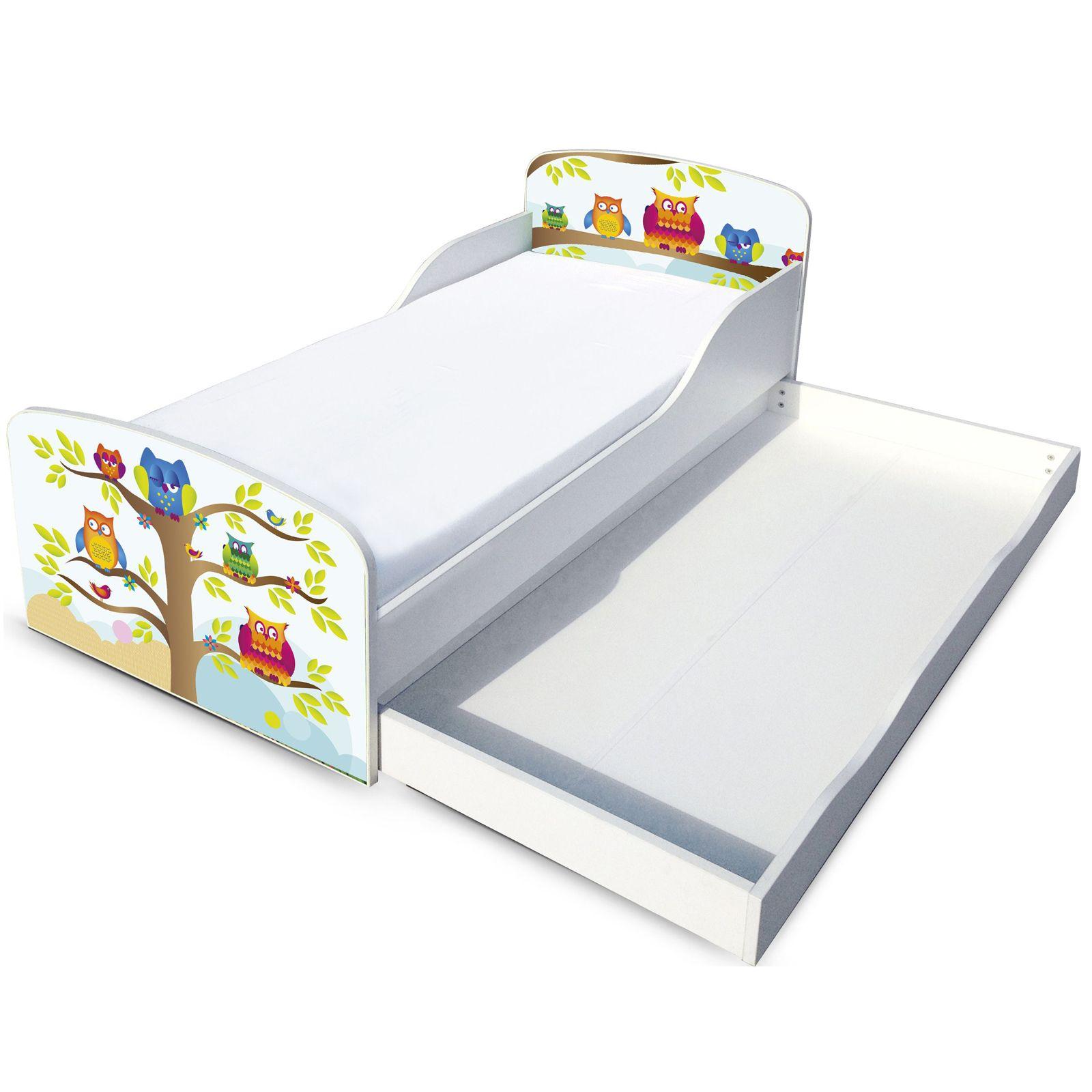 eulen mdf kleinkind bett mit unterbett aufbewahrung luxus matratzen neu m bel ebay. Black Bedroom Furniture Sets. Home Design Ideas