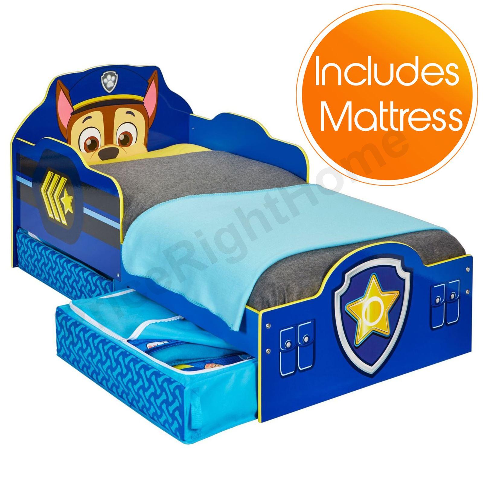 paw patrol chase kleinkind bett mit lager plus luxus schaum neue matratze ebay. Black Bedroom Furniture Sets. Home Design Ideas