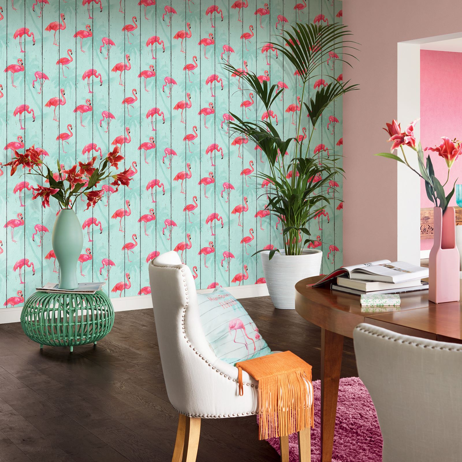 rasch barbara becker flamingo wallpaper teal 479706 wood. Black Bedroom Furniture Sets. Home Design Ideas