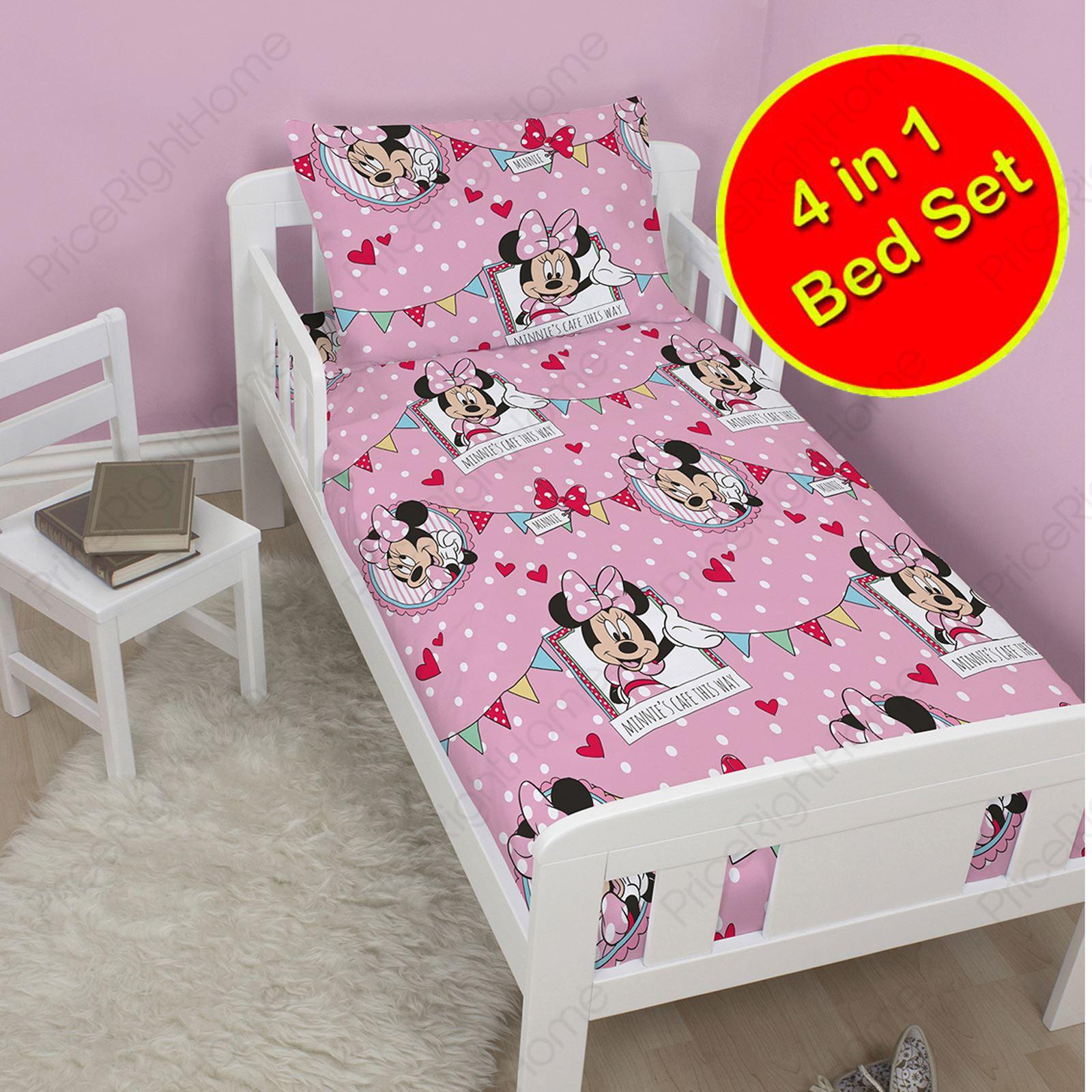 minnie mouse kaffee junior drehbar 4 in 1 bettw sche set. Black Bedroom Furniture Sets. Home Design Ideas