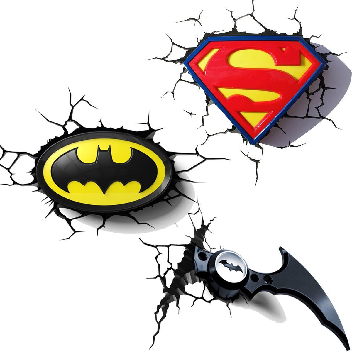DC ICS BATMAN & SUPERMAN 3D LAMPES MURALES VEILLEUSE CHAMBRE ÉCLAIRAGE