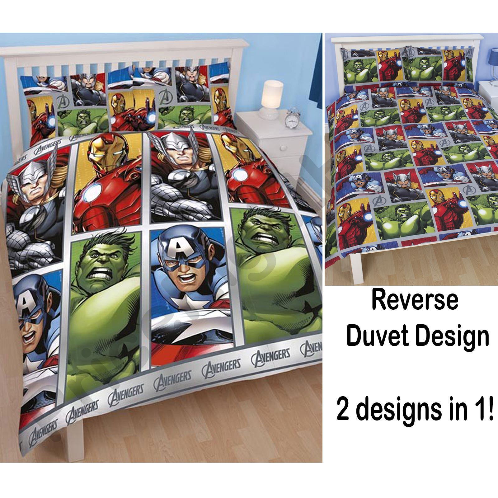 accessoires literie chambre officiel avengers marvel comics duvets rideaux ebay. Black Bedroom Furniture Sets. Home Design Ideas