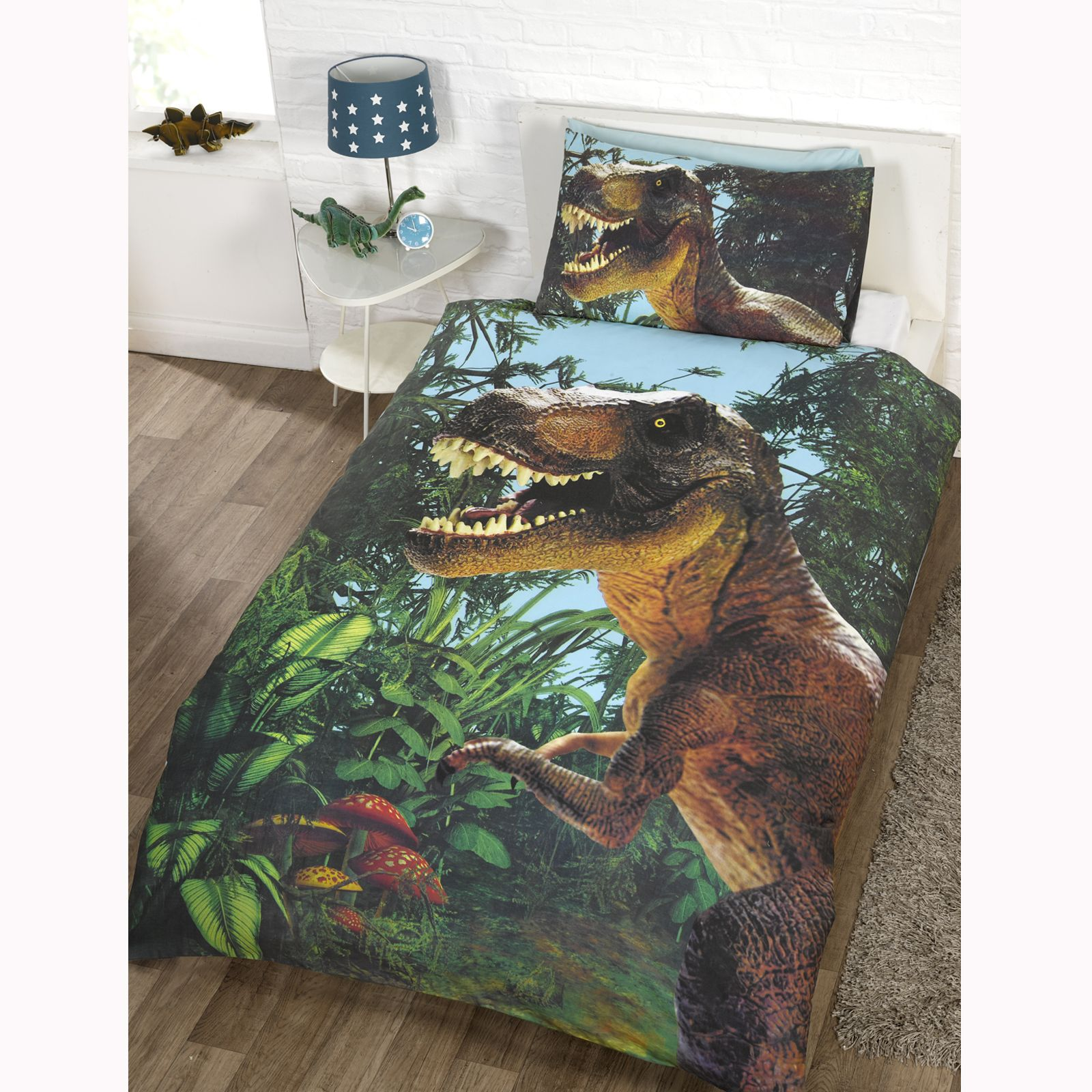 dinosaur design single duvet cover sets boys bedding bedroom ebay. Black Bedroom Furniture Sets. Home Design Ideas