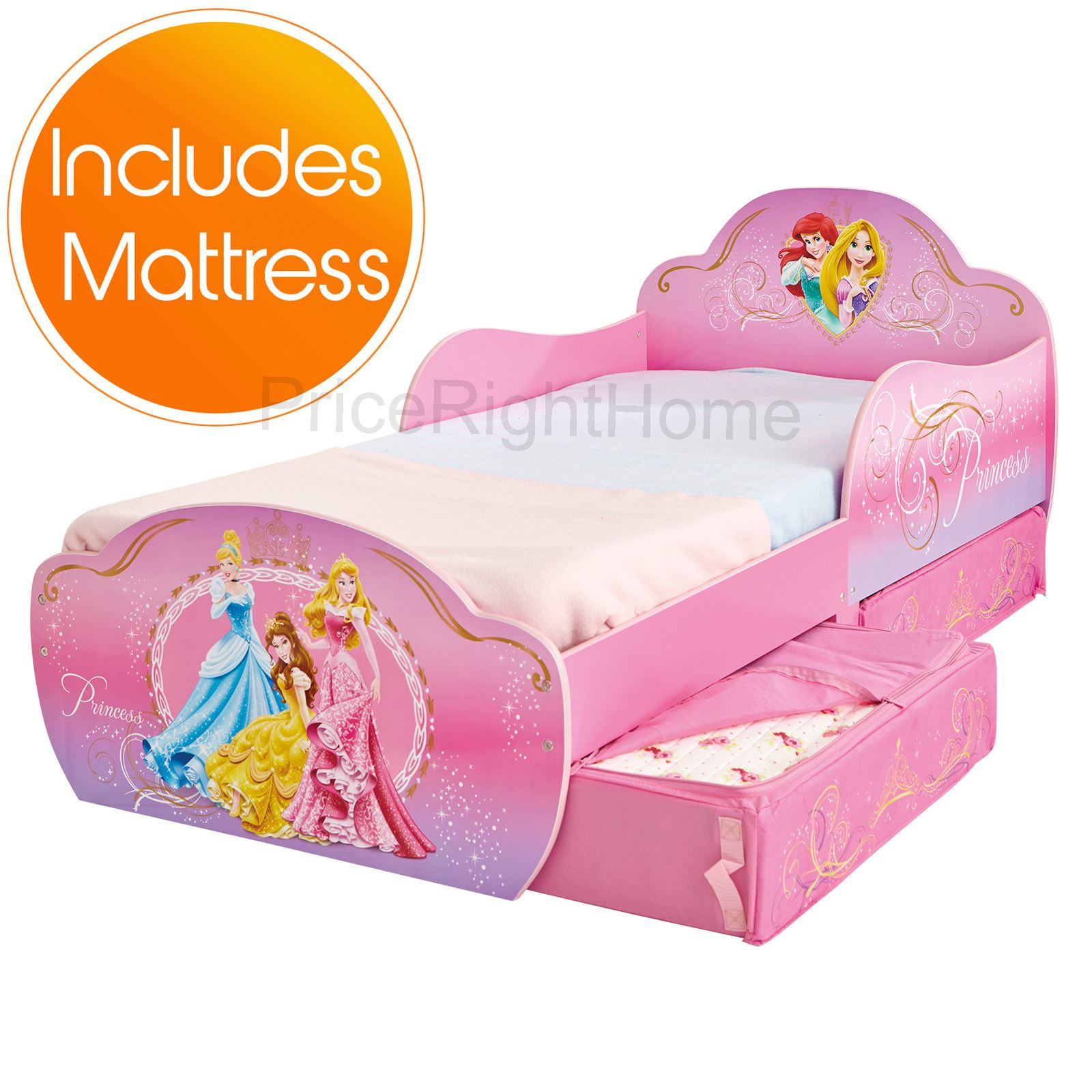 DISNEY PRINCESS MDF TODDLER BED WITH STORAGE DELUXE