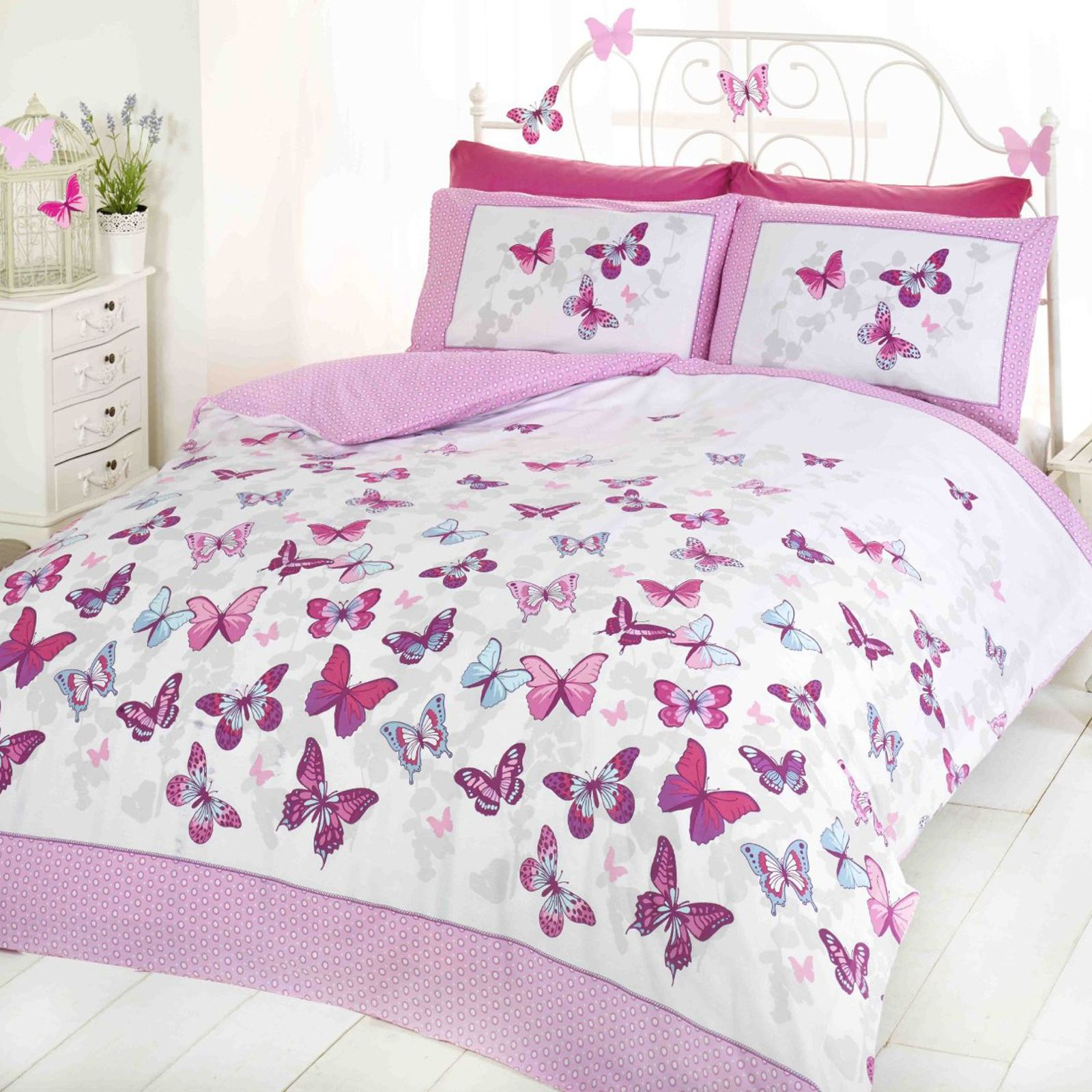 butterfly flutter duvet covers girls bedroom bedding various sizes ebay. Black Bedroom Furniture Sets. Home Design Ideas
