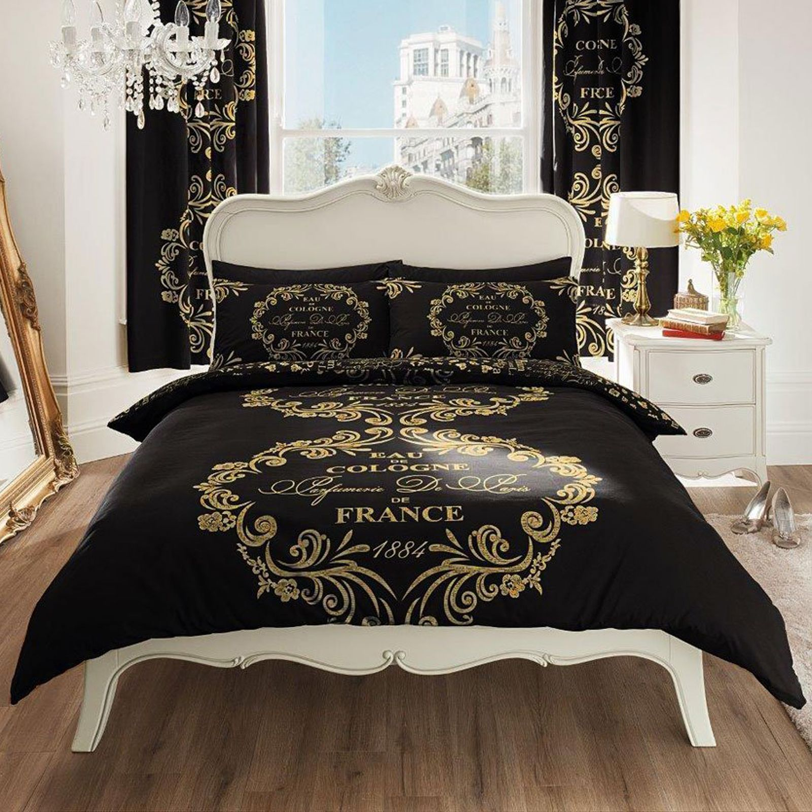 paris texte set couvre lit double lot parure de lit neuf noir ebay. Black Bedroom Furniture Sets. Home Design Ideas