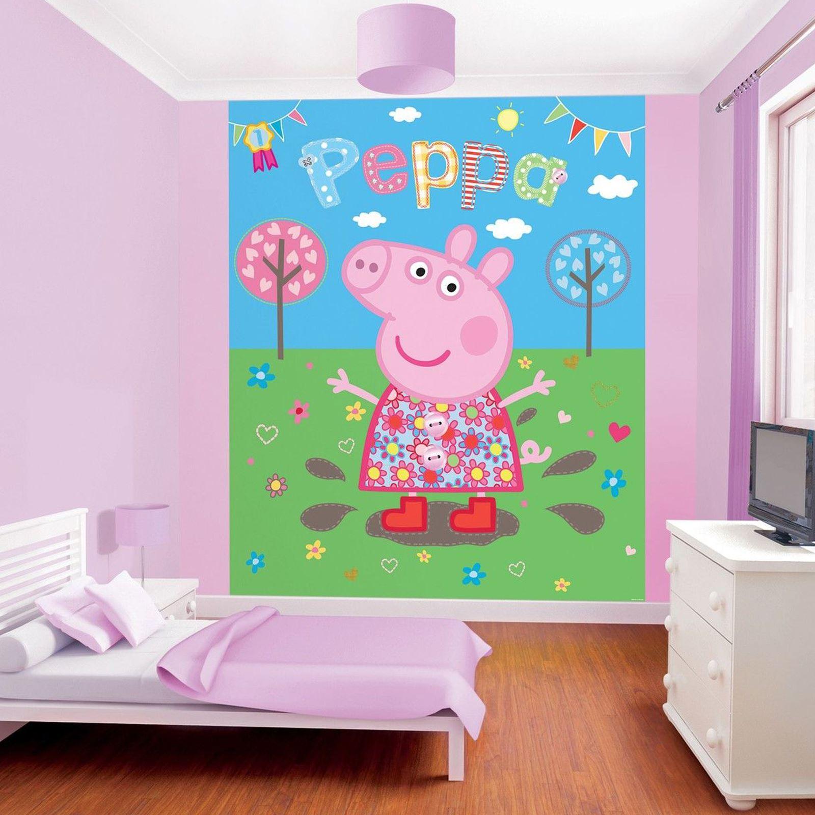 Walltastic wallpaper wall murals kids bedroom peppa for Decor papier peint mural