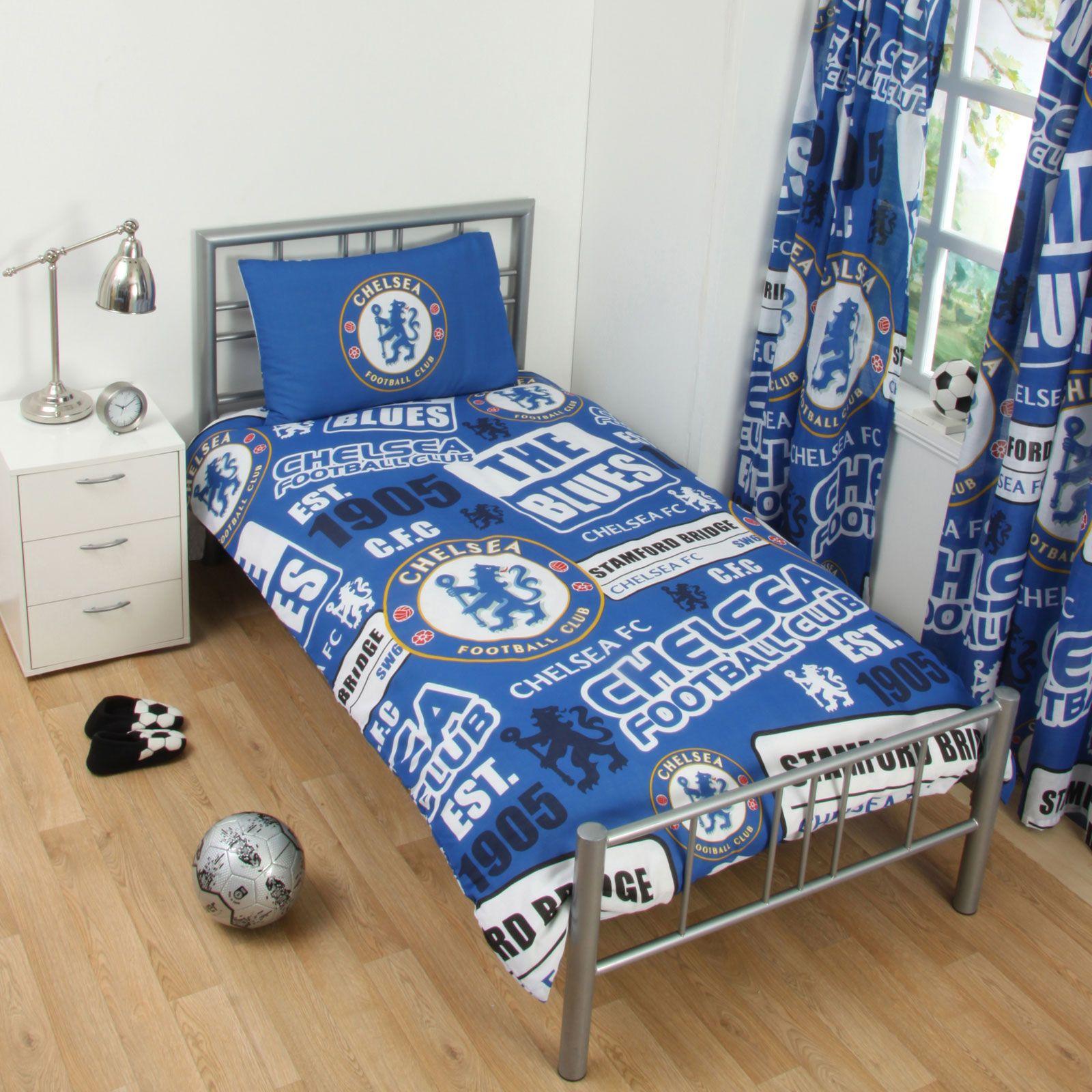 Chelsea Fc Patch Single Duvet Cover Set New Football Bedroom