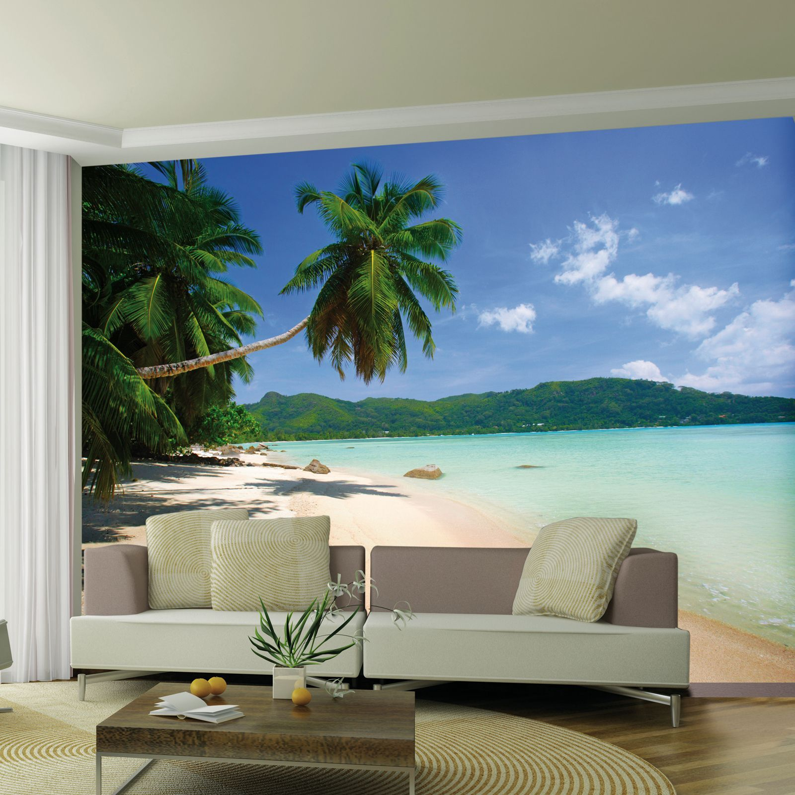 Large wallpaper feature wall murals landscapes for Beach mural for wall