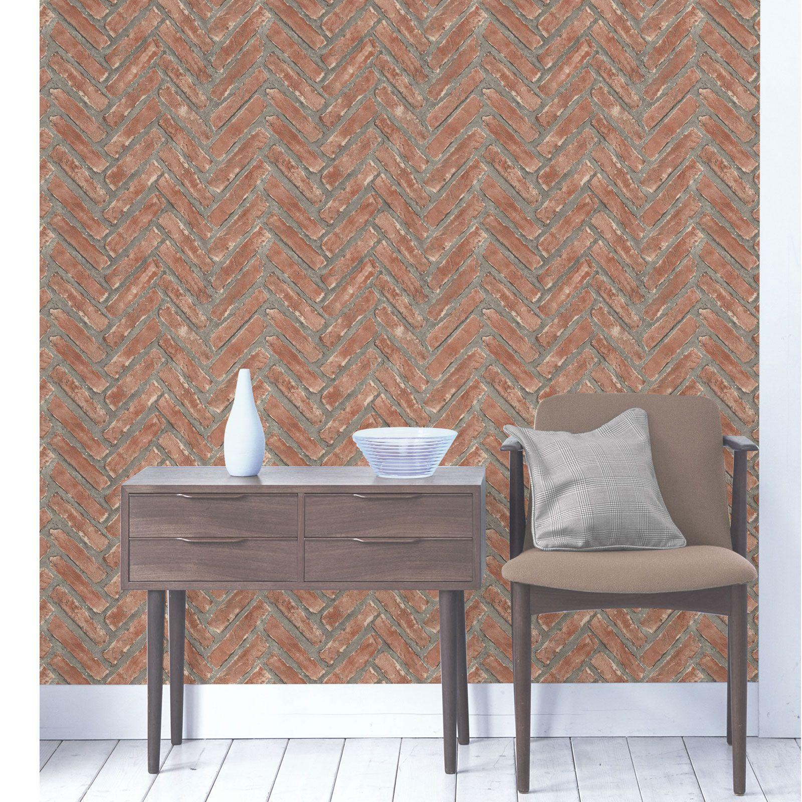 Schwarze Backstein Tapete : Rustic Brick Effect Wallpaper